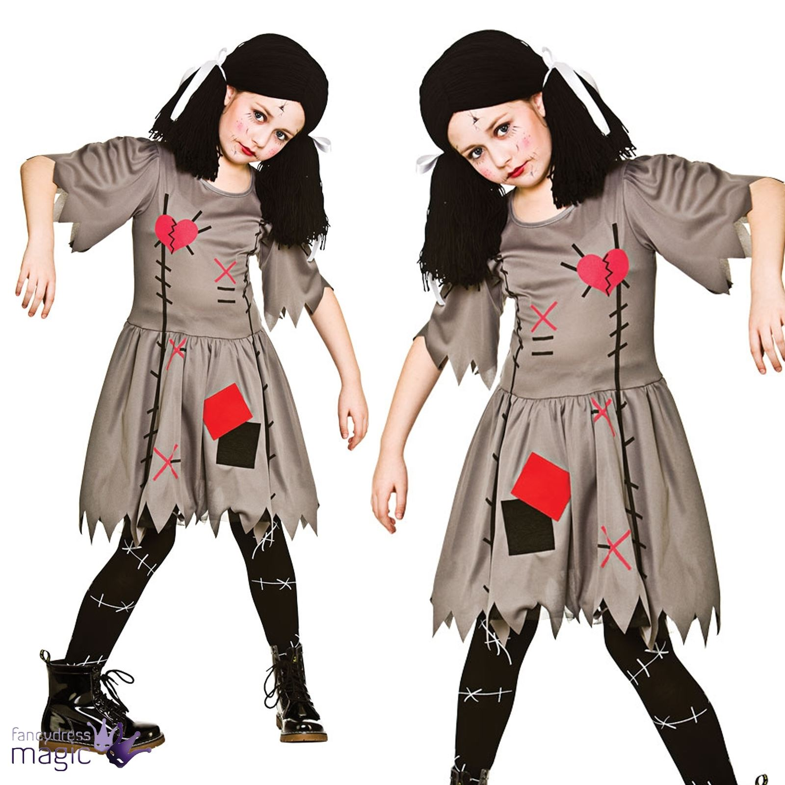 childs girls freaky voodoo evil doll dolly halloween fancy dress costume outfit