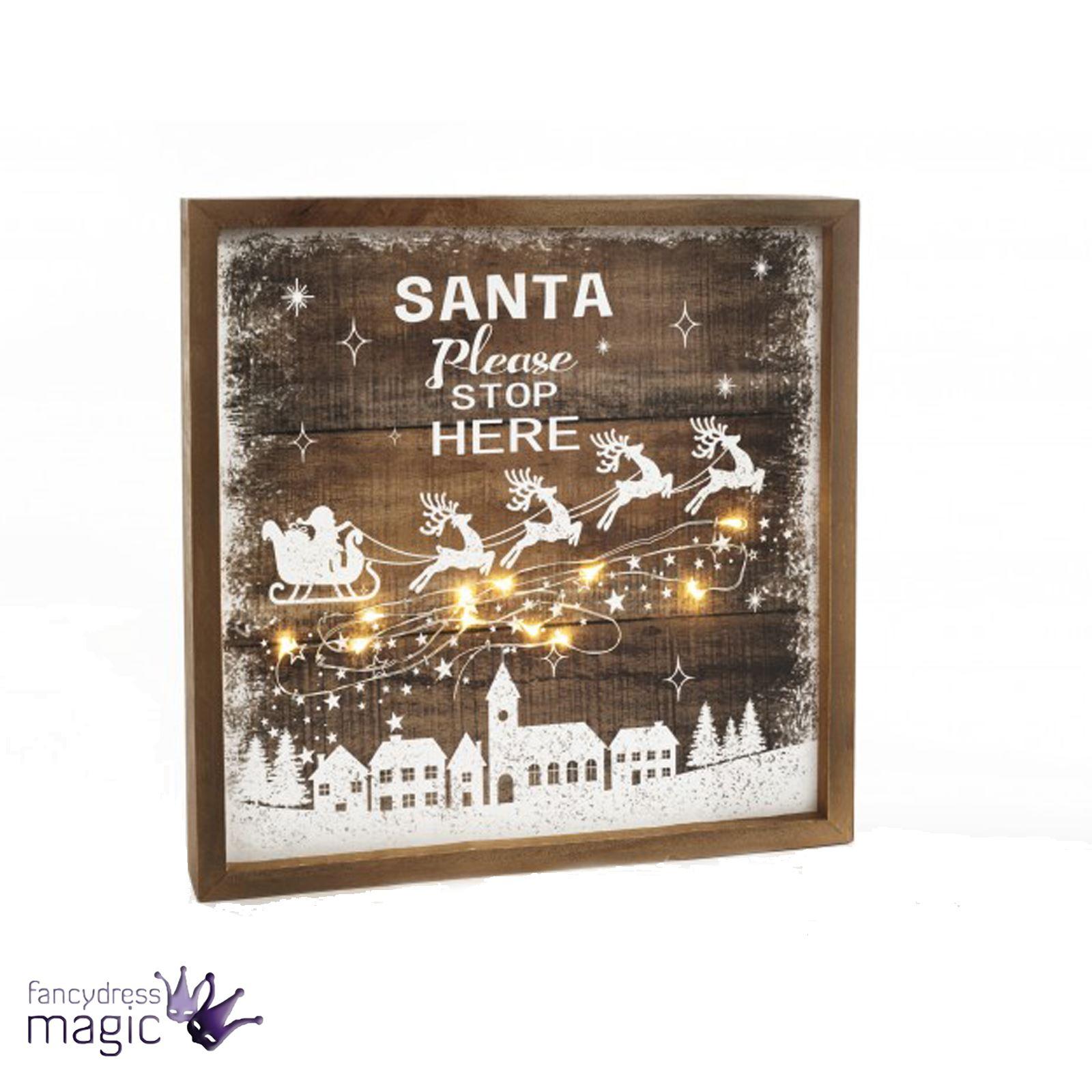 rustikal holzern Fee aufleuchtend LED santa stop here Weihnachten ...