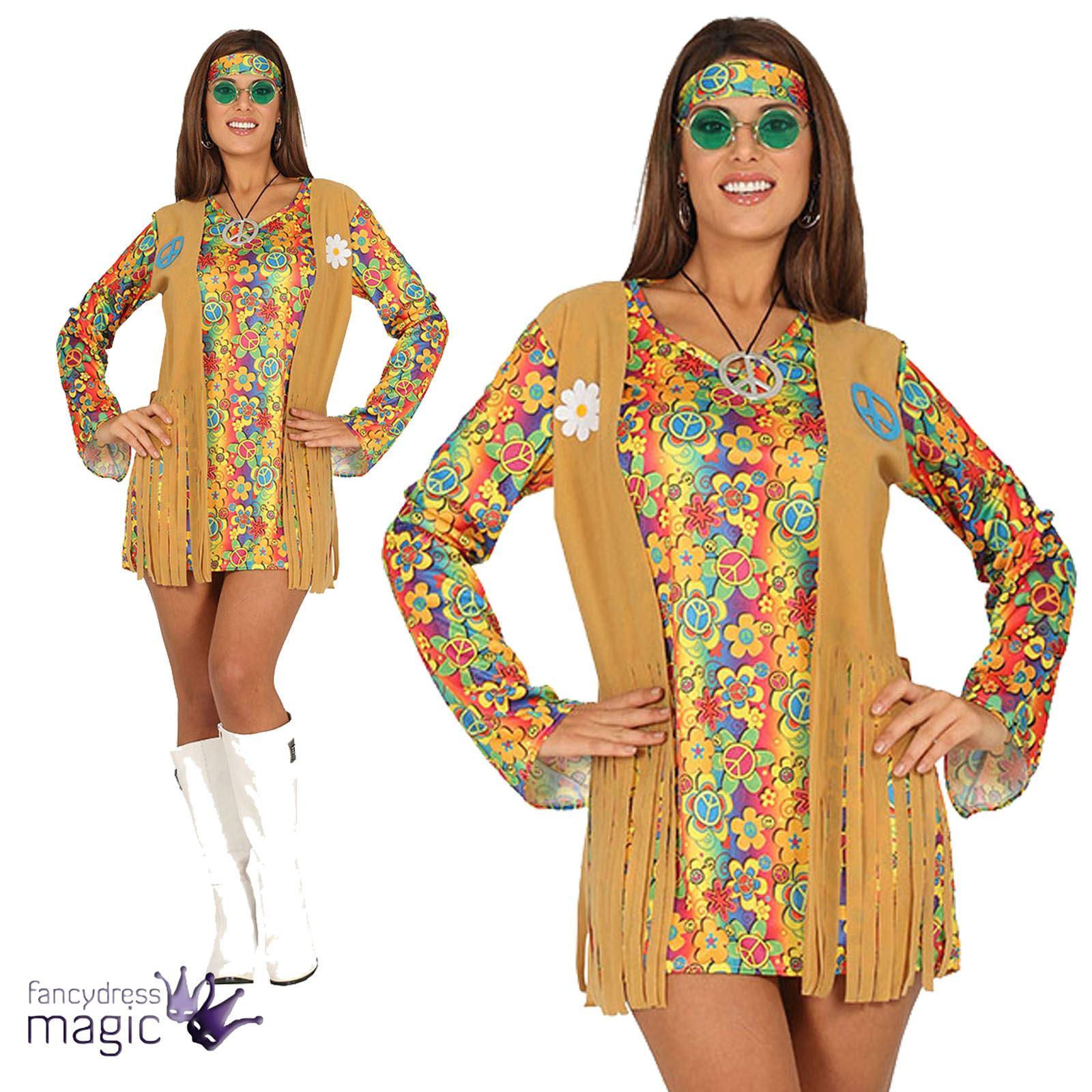 femmes ann es 60 70 hippie costume d guisement bandeau gilet frange ebay. Black Bedroom Furniture Sets. Home Design Ideas