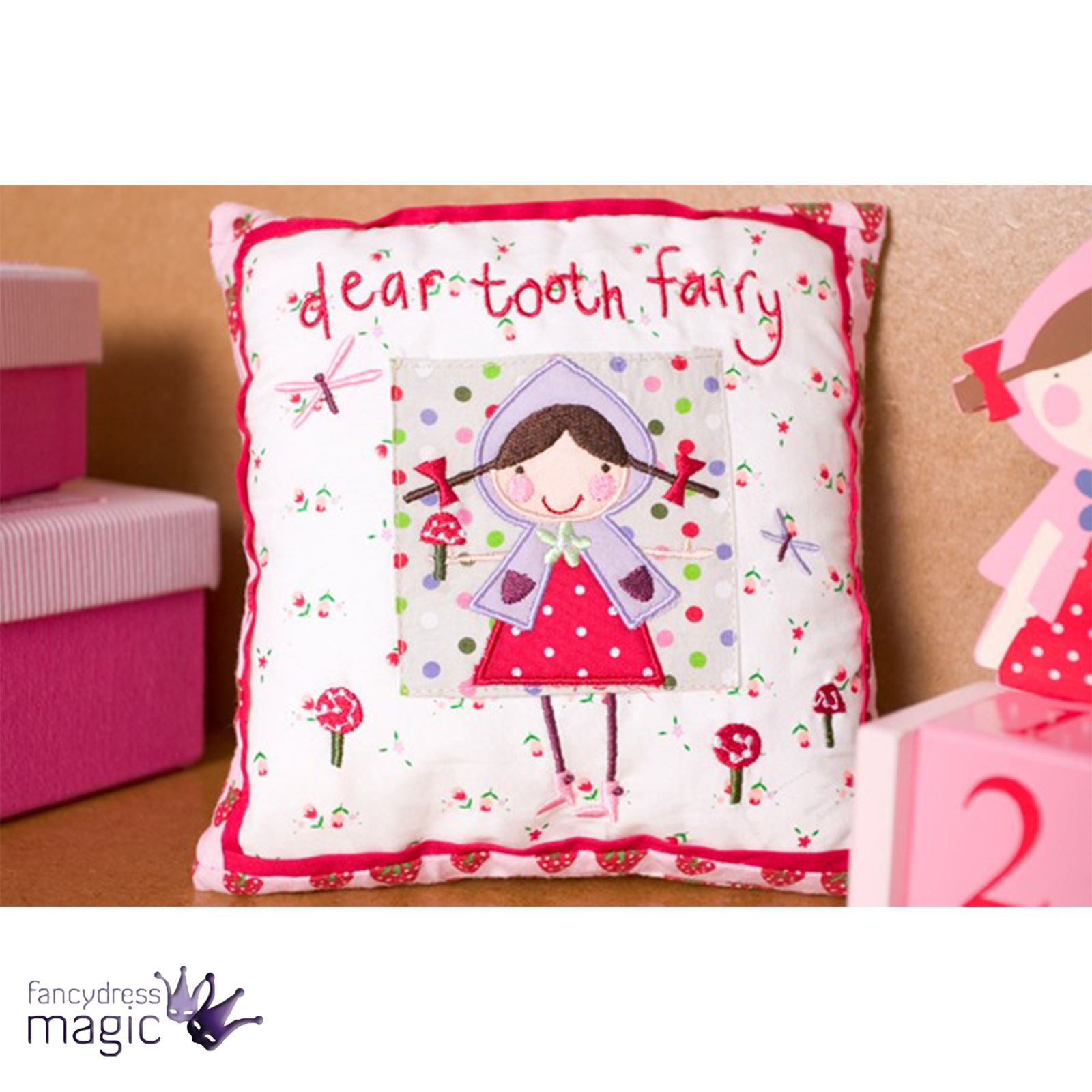Gisela Graham Little Girls Dear Tooth Fairy Strawberry Patch Cushion