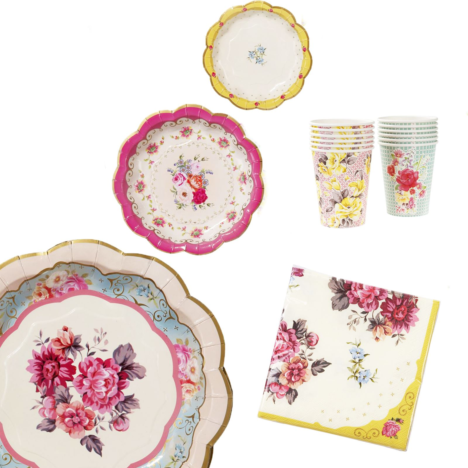 Talking-Tables-Truly-Scrumptious-Vintage-Floral-Afternoon-Tea-  sc 1 st  eBay & Talking Tables Truly Scrumptious Vintage Floral Afternoon Tea Set ...