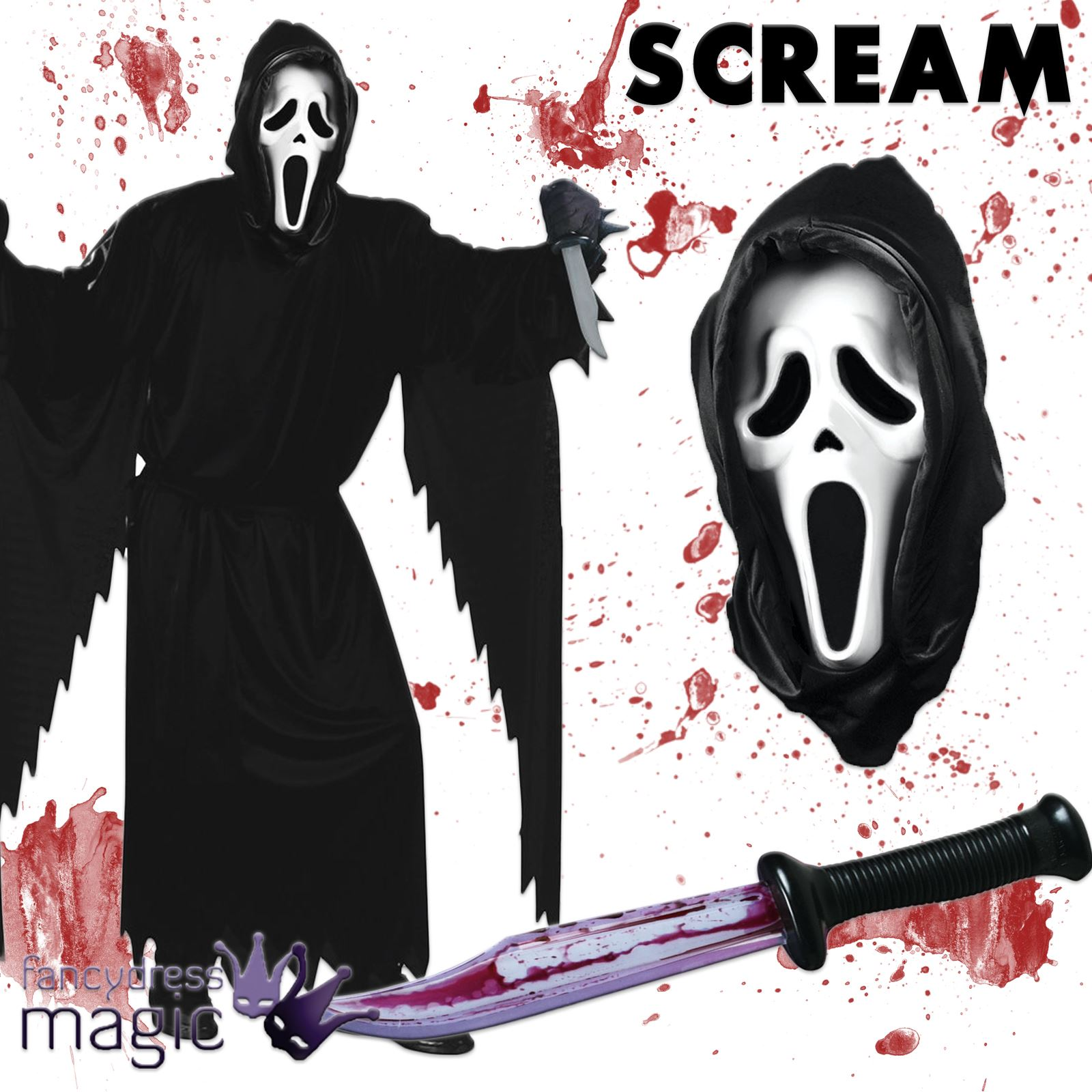 offiziell lizenziert erwachsene gespenstergesicht scream kost m outfit halloween ebay. Black Bedroom Furniture Sets. Home Design Ideas