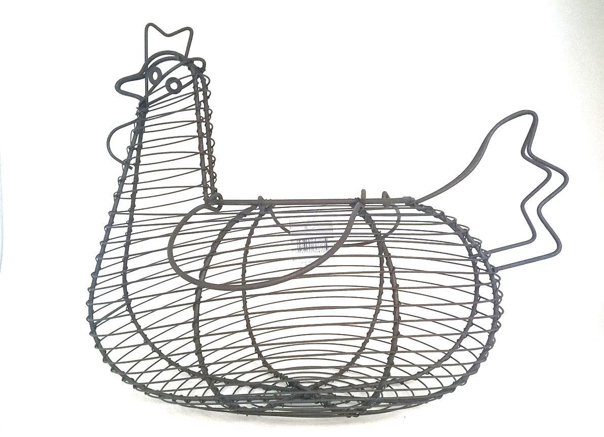 GISELA GRAHAM BROWN RUSTIC WIRE CHICKEN HEN EGG BASKET WITH HANDLES ...