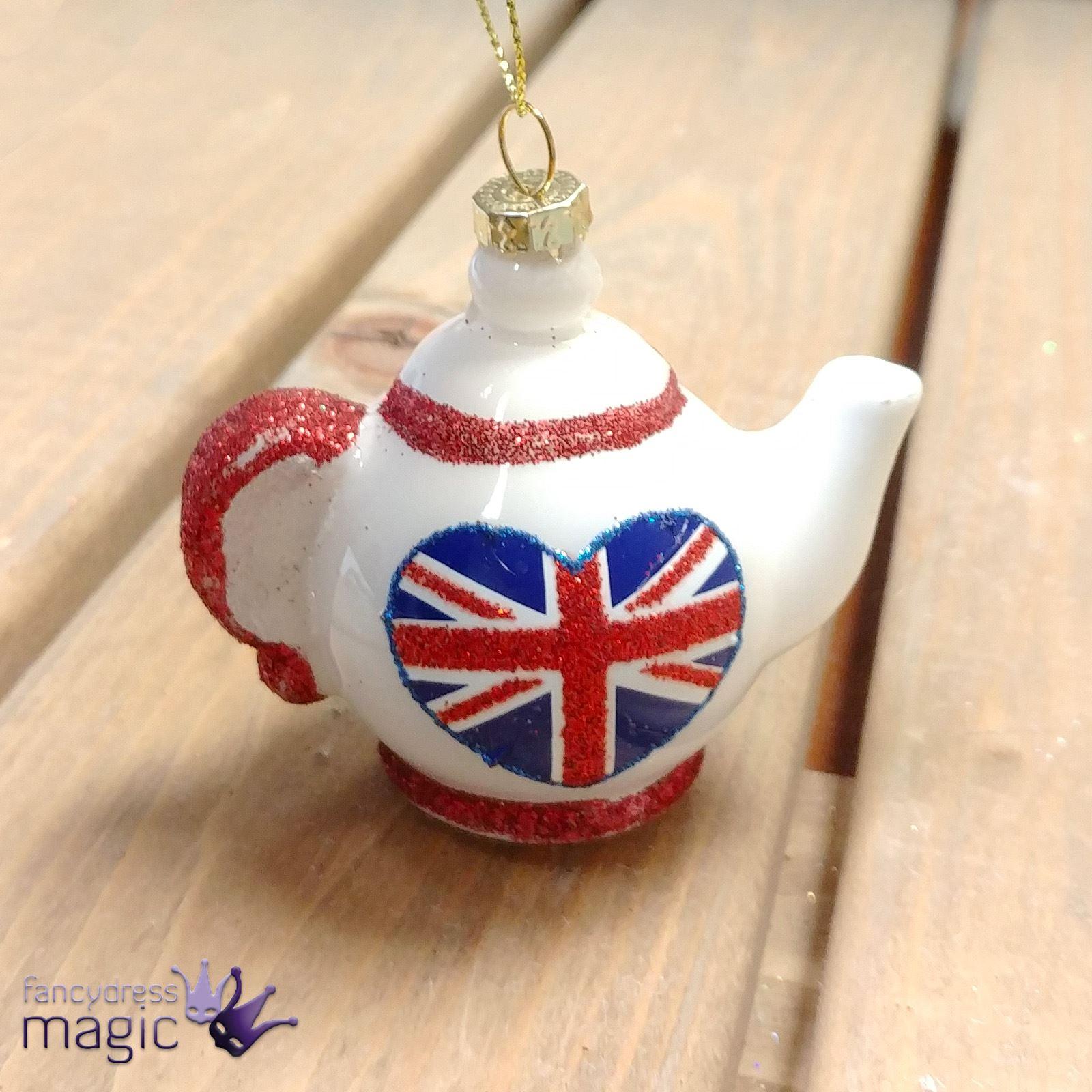Gisela Graham Glass Teapot Union Jack Hanging Christmas Tree