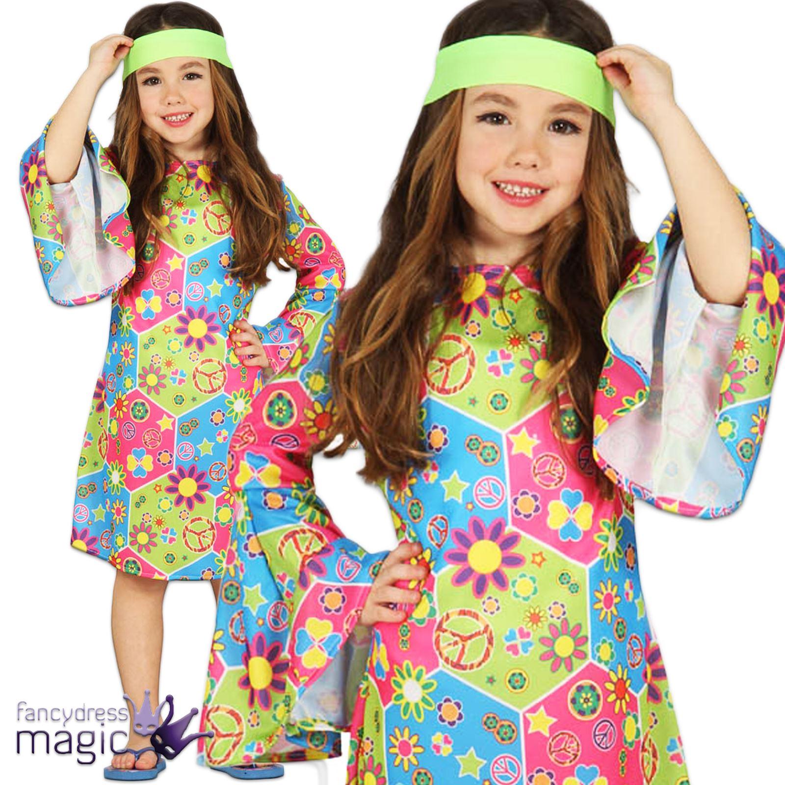 Enfant-filles-hippie-hippy-chick-fleur-60s-70s-  sc 1 st  eBay & Childs Girls Hippie Hippy Chick Flower 60s 70s Go Go Fancy Dress ...
