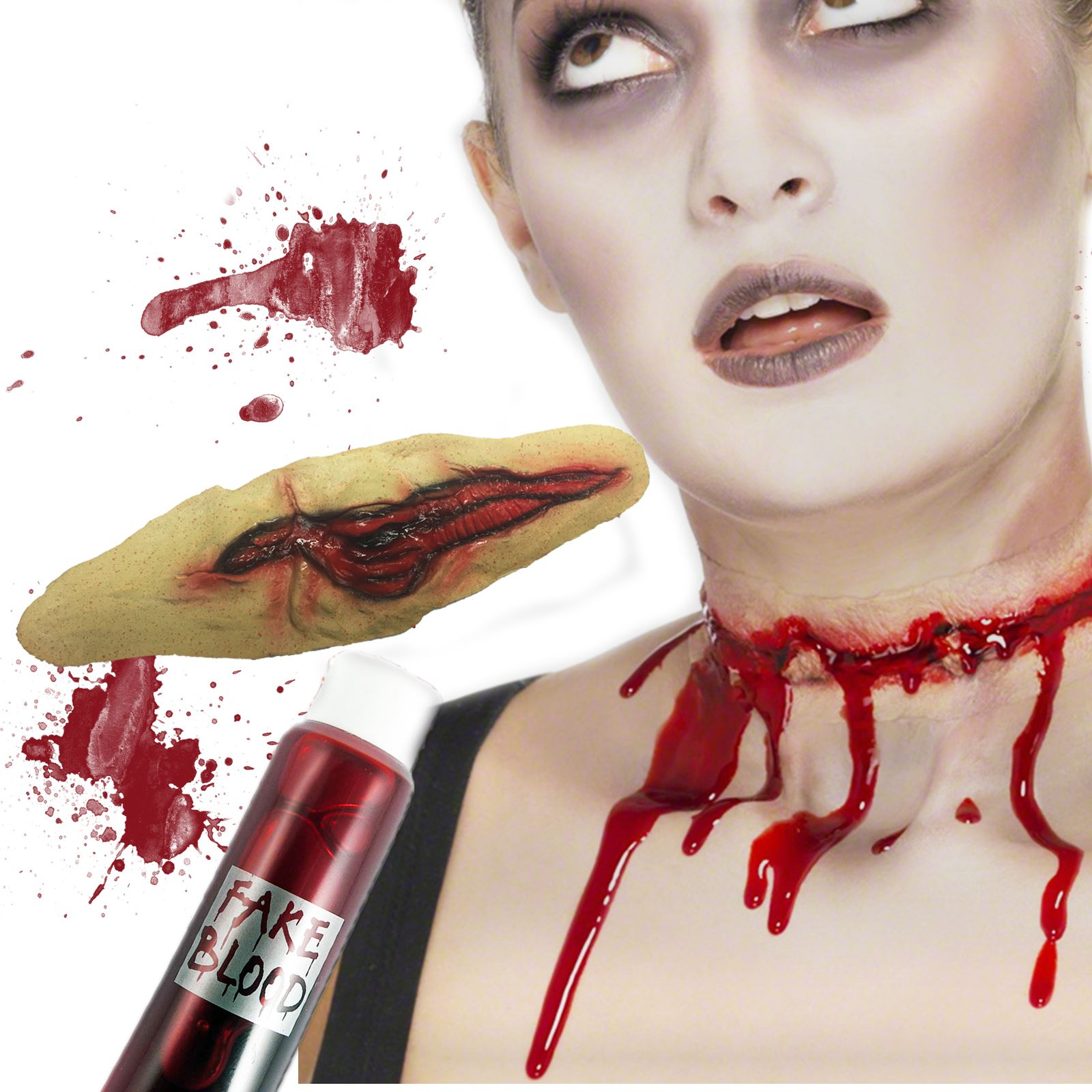 SLASHED THROAT HALLOWEEN FX ZOMBIE MAKE UP BLOOD FACE PAINT FANCY ...