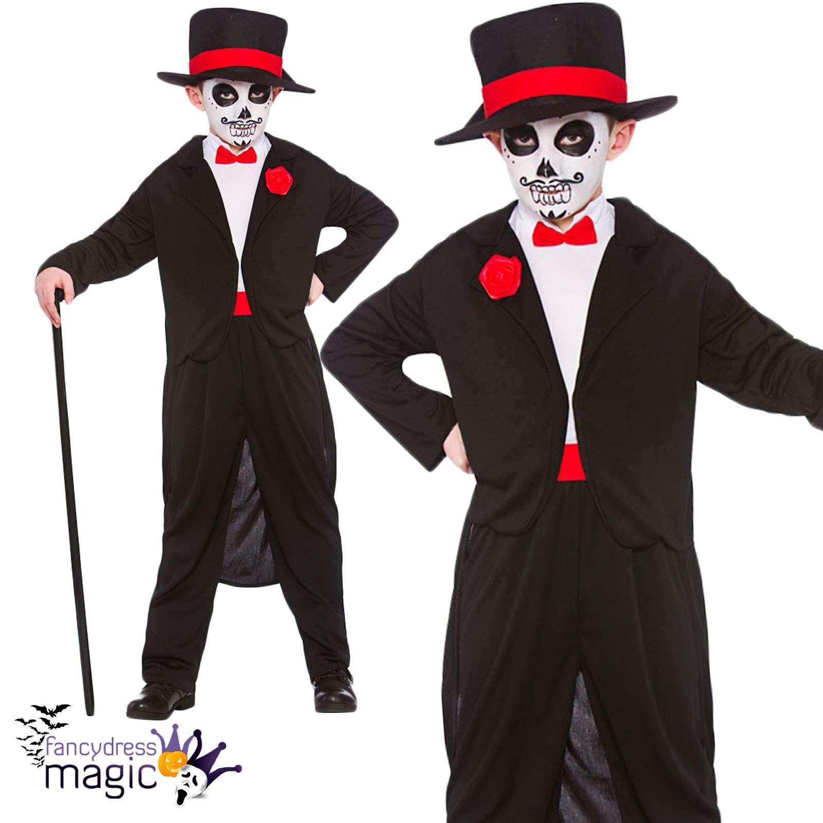 Niños Halloween disfraces día de muertos esqueleto traje traje cráneo  mexicano bcdd9f6d0fd