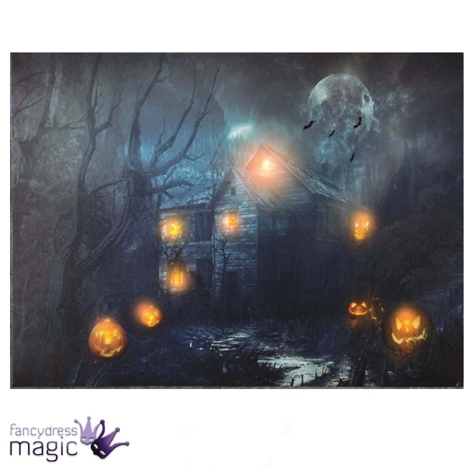 Led Light Up Canvas Halloween Spooky Scene Picture Wall
