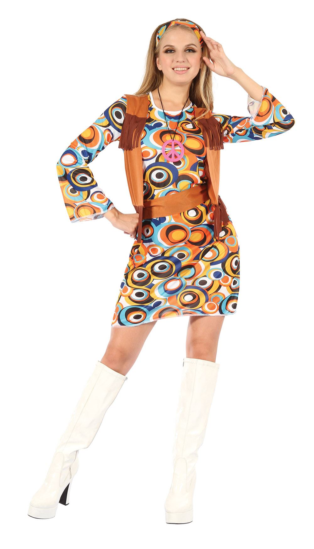 ladies 60s 70s groovy hippy flower power hippie mod 10 12 14 fancy dress costume ebay. Black Bedroom Furniture Sets. Home Design Ideas