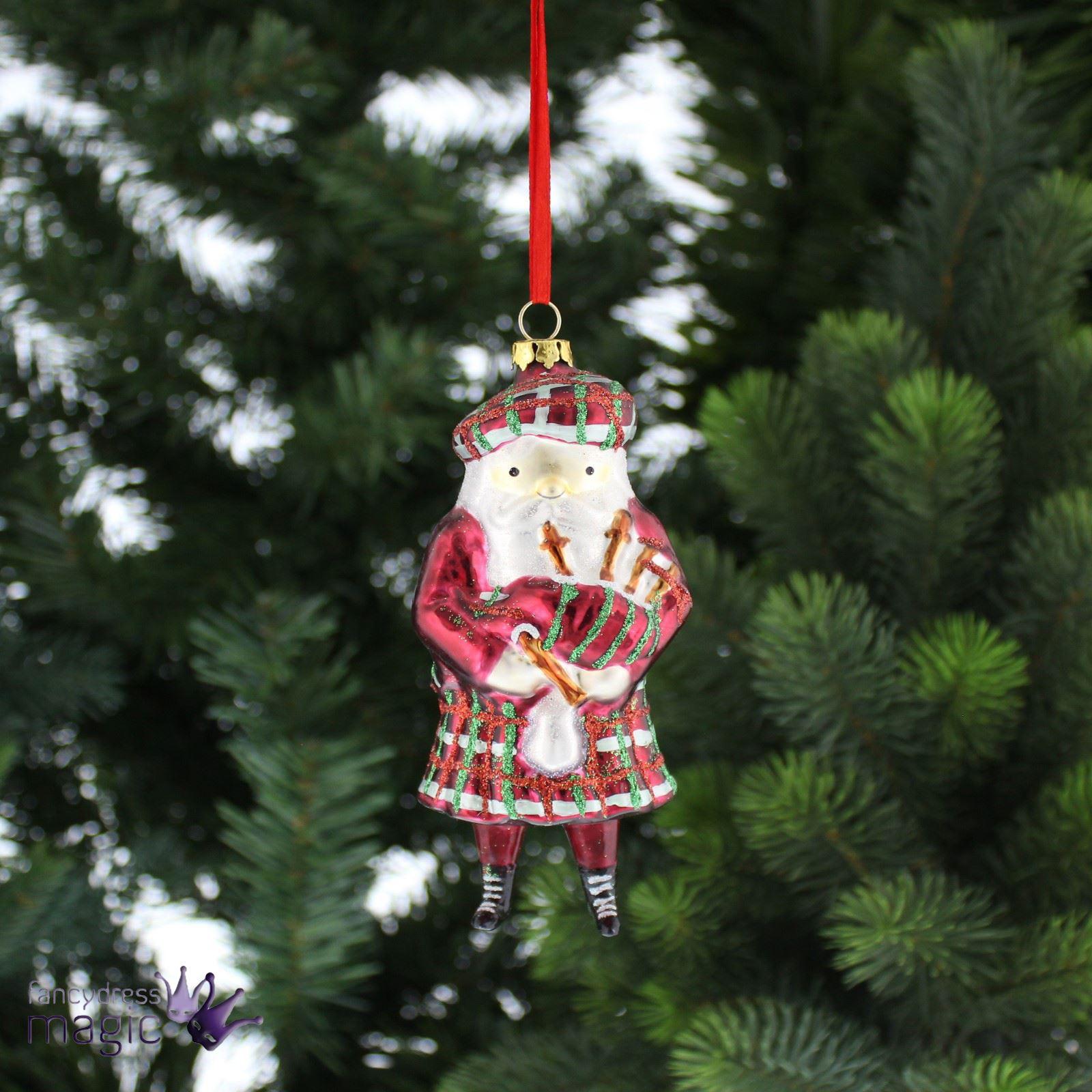 Festive Vintage Glass Bagpipe Scottish Santa Christmas