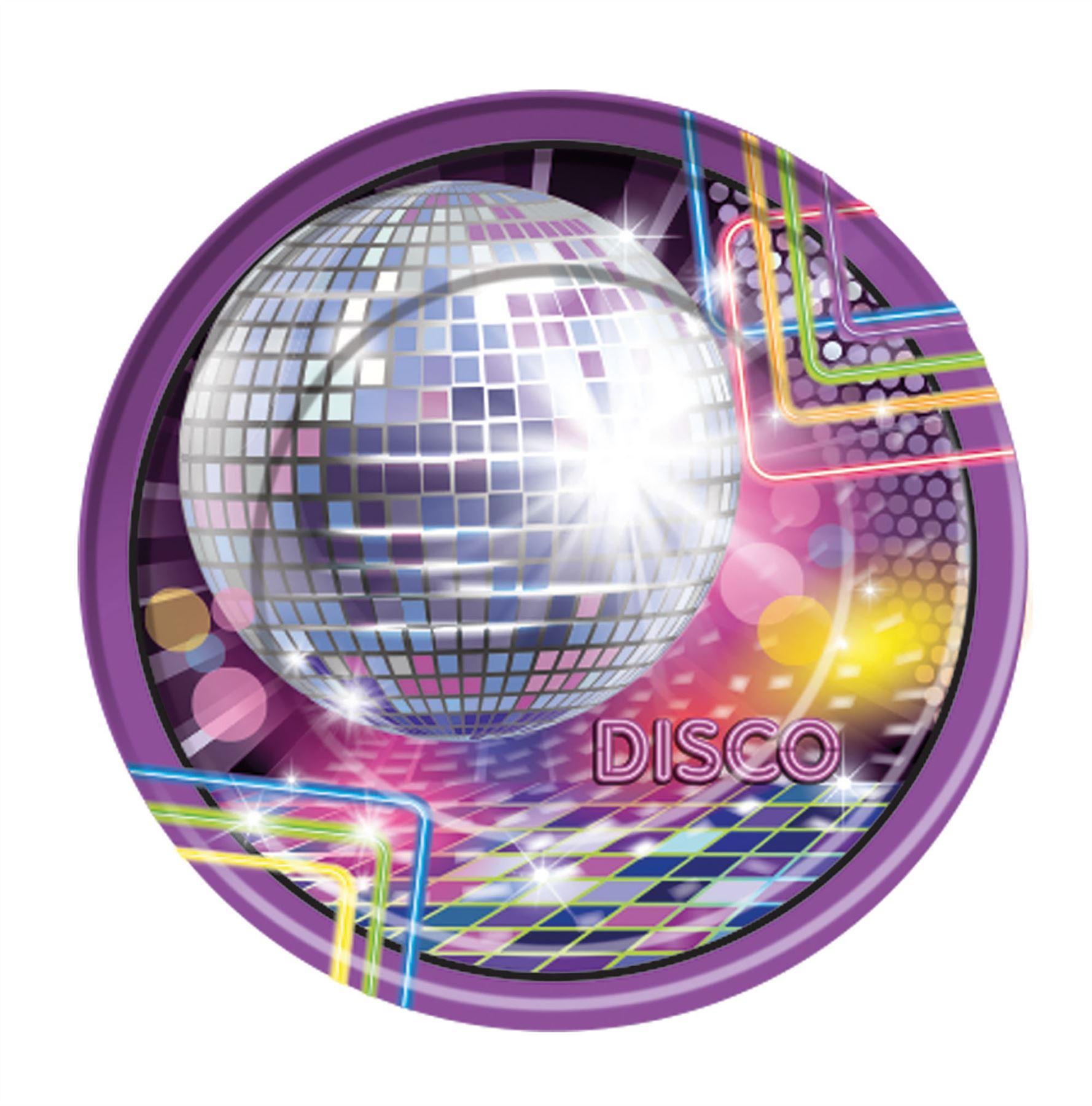 70s-Fun-Party-8-Piece-Disco-Fever-Glitter-  sc 1 st  eBay & 70s Fun Party 8 Piece Disco Fever Glitter Mirror Ball Paper Plates ...