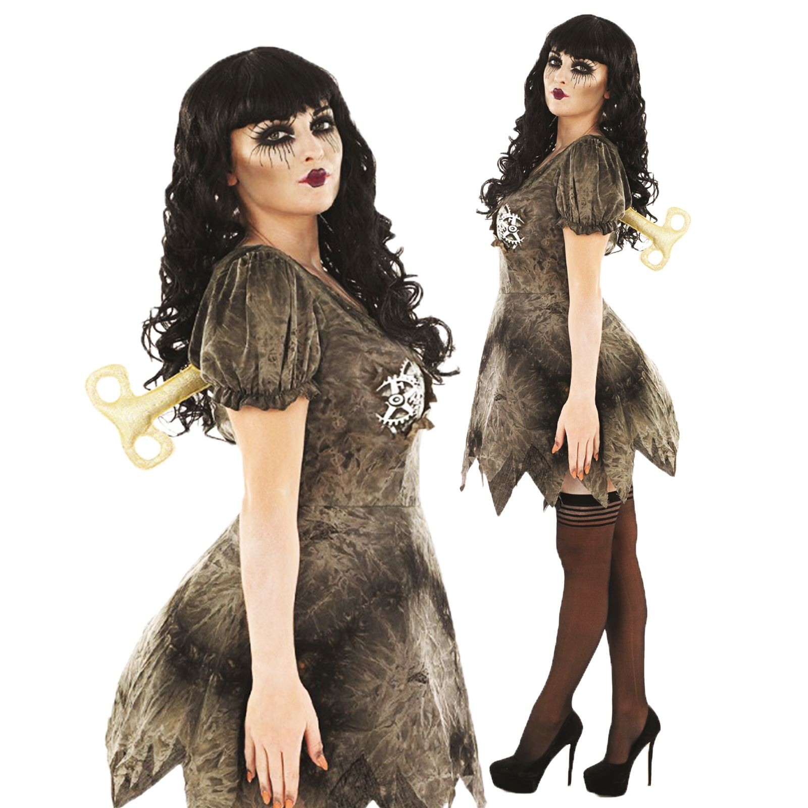 womens halloween creepy wind up doll steampunk fancy dress. Black Bedroom Furniture Sets. Home Design Ideas