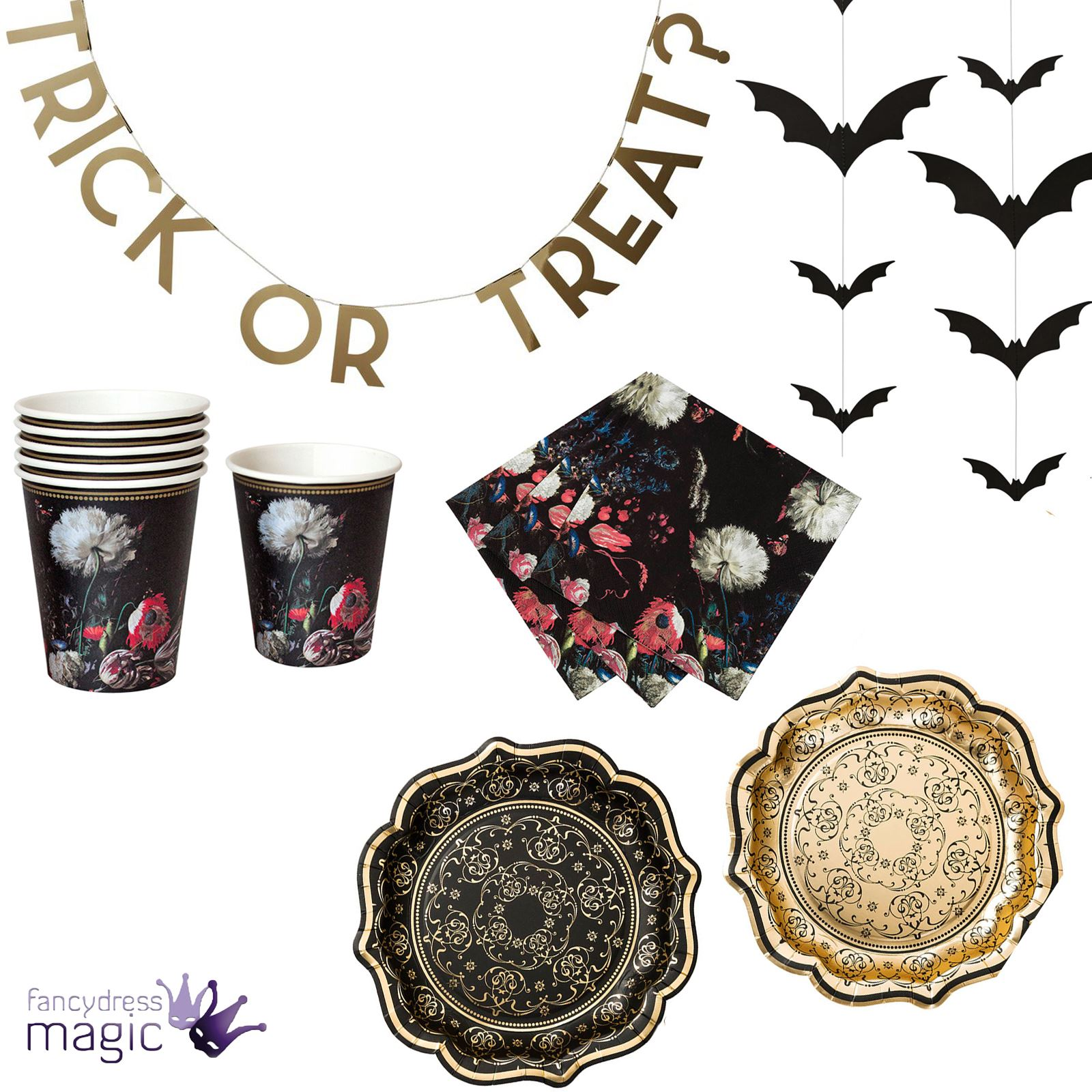 Talking Tables Party Porcelain Baroque Classical Halloween Gothic ...