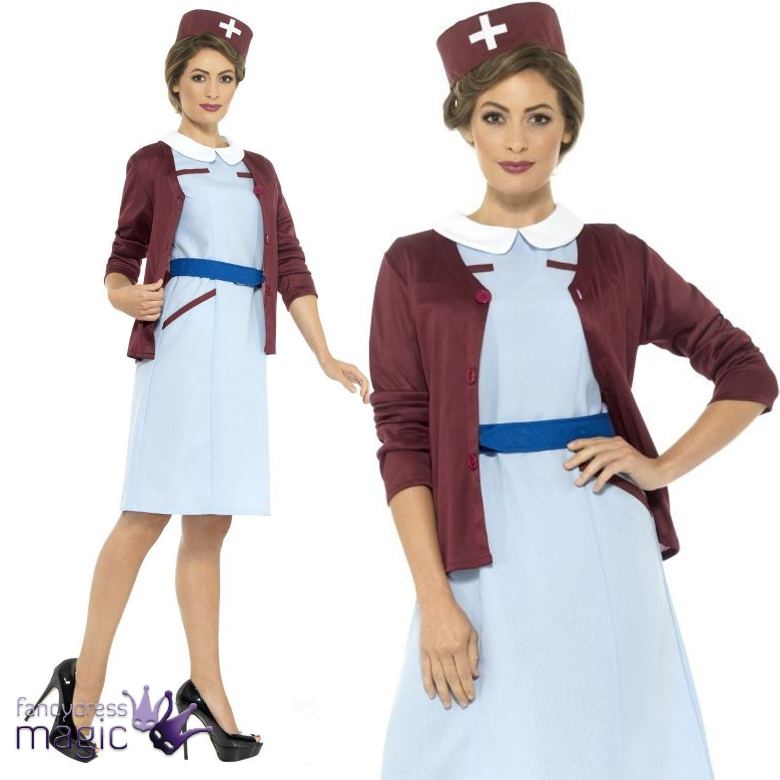 Ladies Vintage 1940s 40s WW2 Nurse Fancy Dress Wartime Costume u0026 Cardigan Outfit  sc 1 st  eBay & Ladies Vintage 1940s 40s WW2 Nurse Fancy Dress Wartime Costume ...
