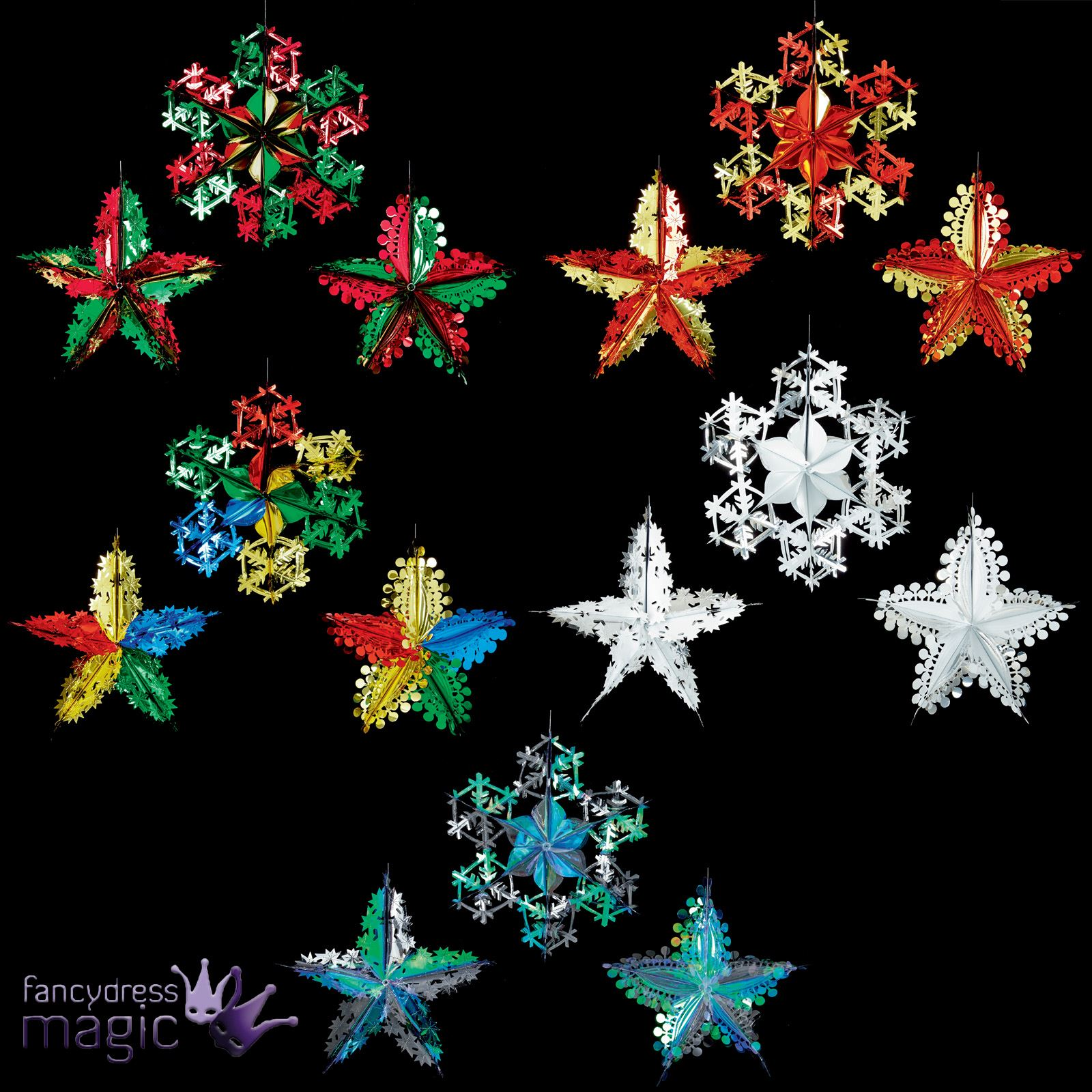 Hanging Christmas Decorations Ceiling: *Hanging Foil Shape Assorted Star Snowflake Ceiling