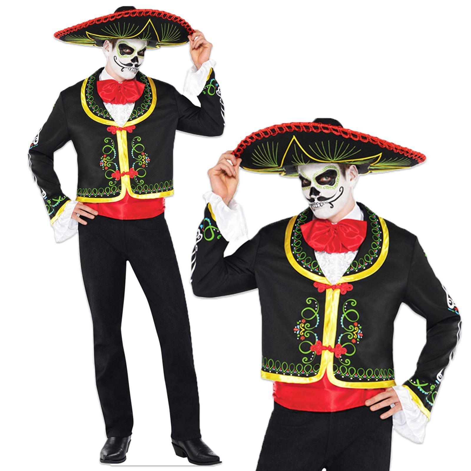dd3629350 Día de lo muertos azúcar cráneo mexicano esqueleto fiesta traje disfraz