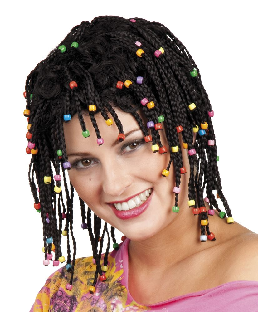 Wedding Hairstyles In Jamaica: WOMENS LADIES BLACK BEADED RASTA WIG FANCY DRESS COSTUME