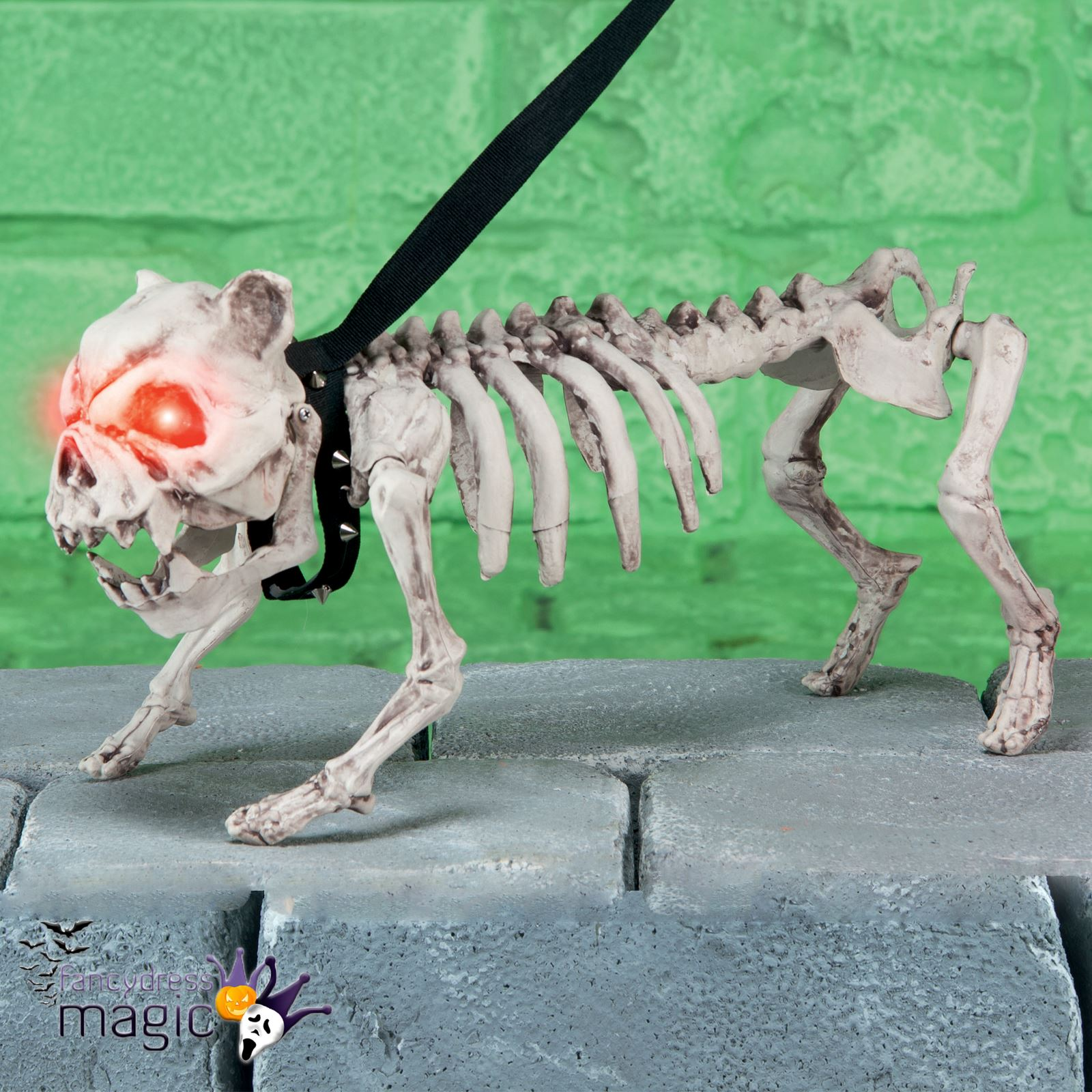 barking standing skeleton ghost dog with light up eyes halloween decoration prop