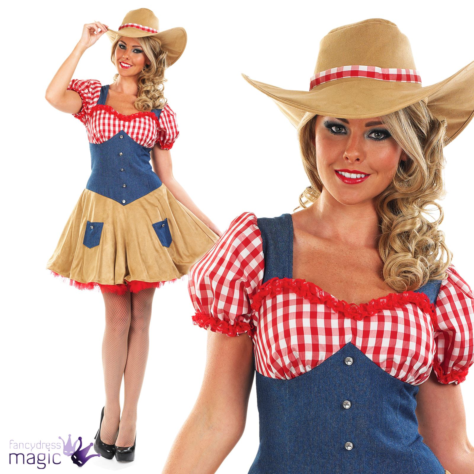 Ladies Womens Cowgirl Wild West Cowboy Fancy Dress Costume