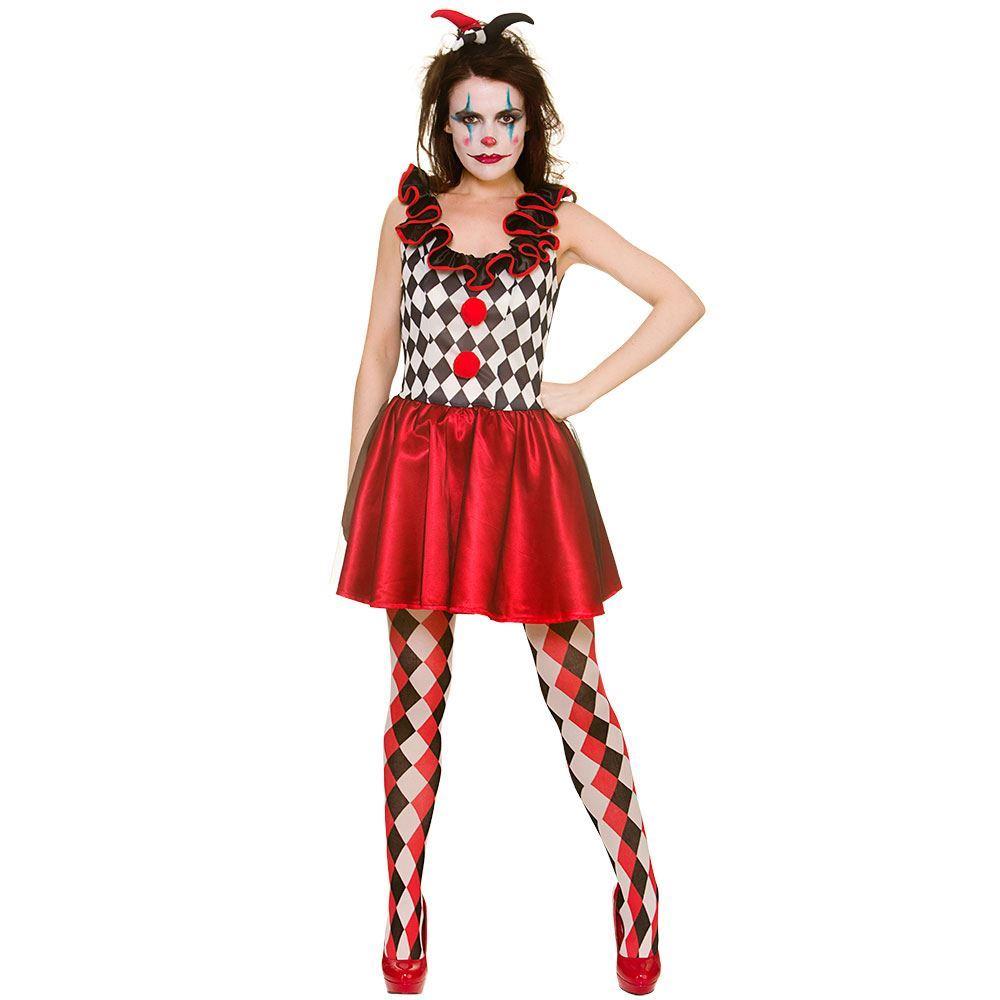 Mujer Arlequín bufón payaso Halloween traje disfraz + mallas de sombrero 449532715f9