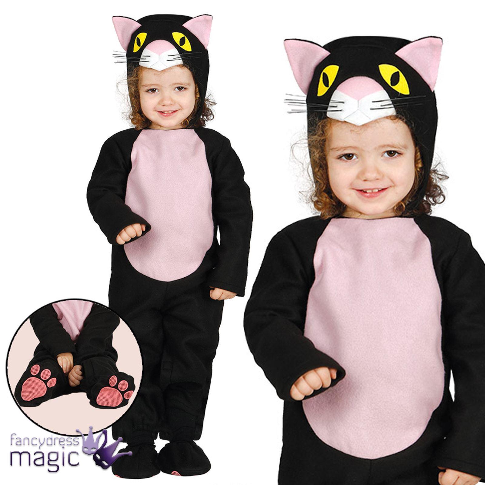 baby kleinkinder s schwarz katze kitty halloween tier kost m kleid outfit ebay. Black Bedroom Furniture Sets. Home Design Ideas
