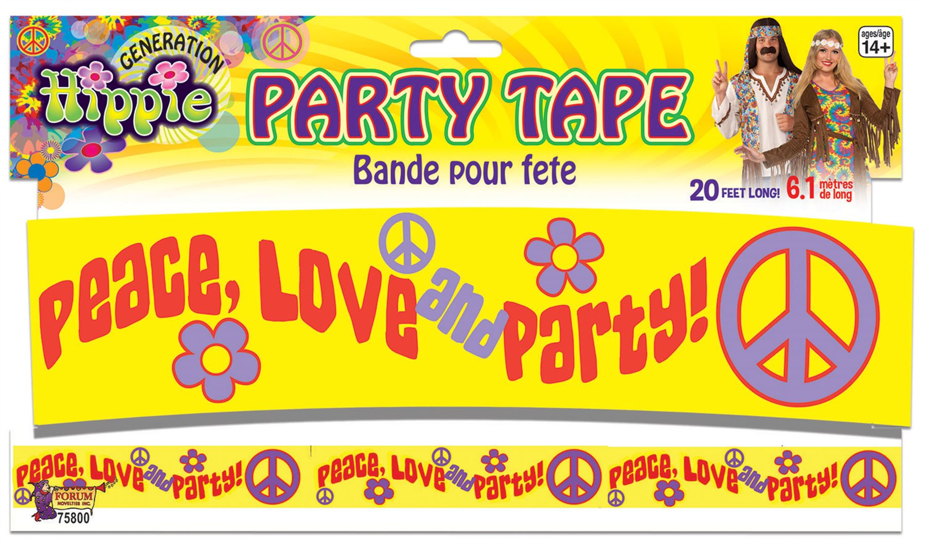 Hippie Hippy 60s 70s Fun Peace Love Party Tape Decoration Banner ...
