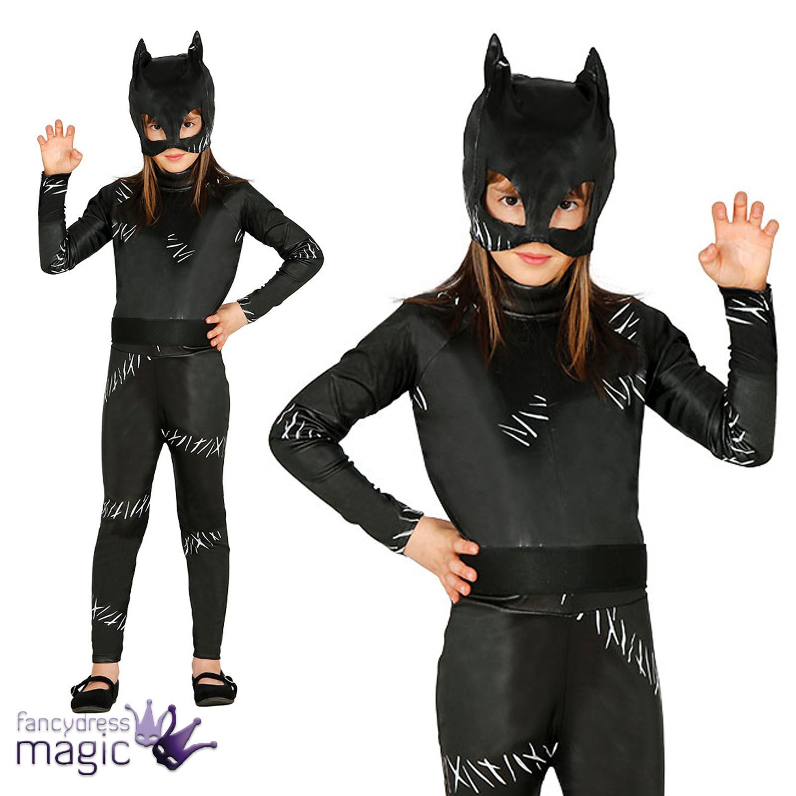 Childs Halloween Gato Negro Dama Superhéroe Villano Fancy Dress Costume And Mask