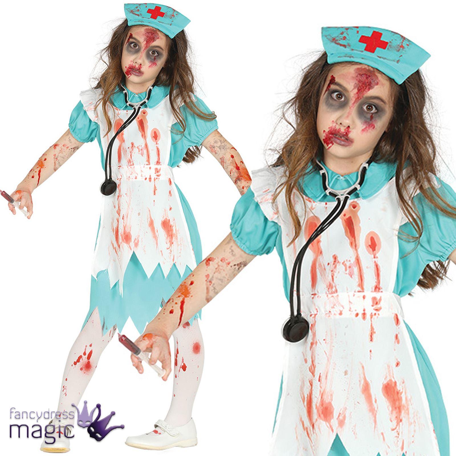dd327e72ac252 Child Girls Zombie Bloody Killer Nurse Horror Halloween Fancy Dress Costume  Hat