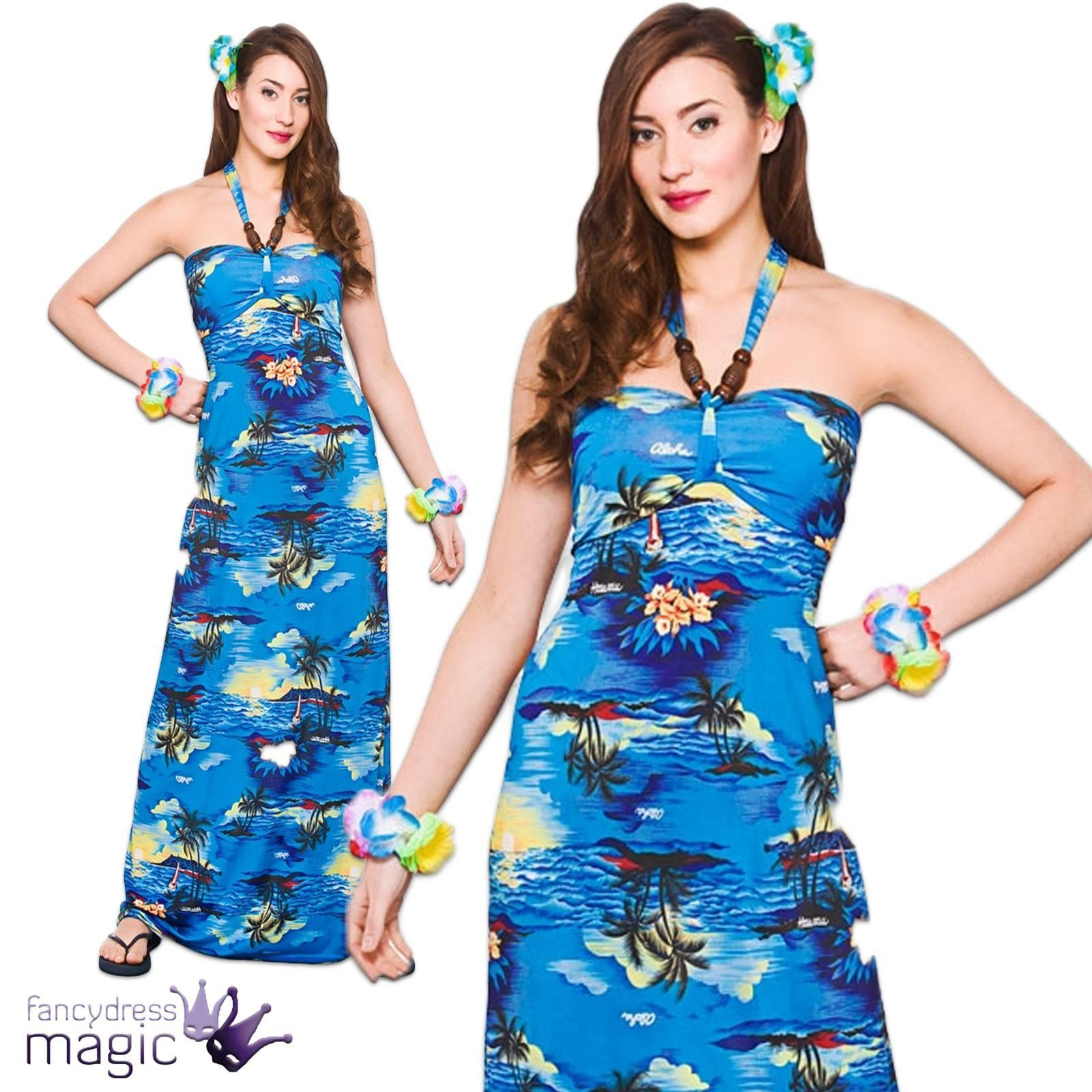 Ladies Hawaiian Maxi Long Fancy Dress Costume Party Beach Luau ...