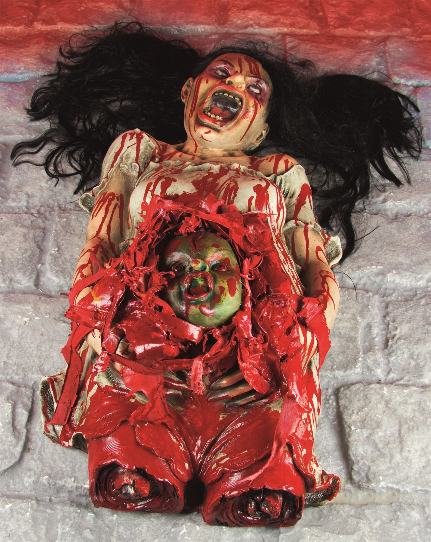 halloween gory horror pregnant woman corpse zombie baby