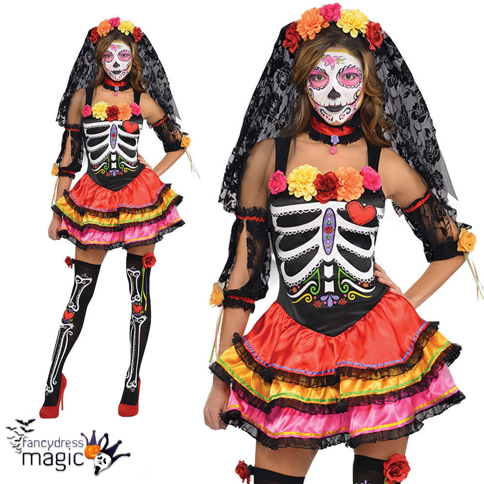 fc6d80e1f44 Ladies Day Of The Dead Senorita Skeleton Mexican Sugar Skull Fancy Dress  Costume