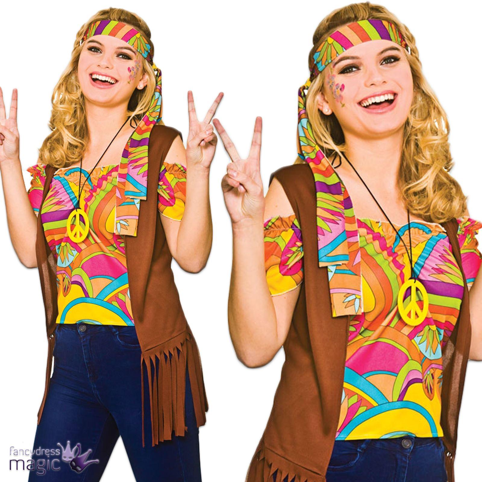 Ladies Adults Cool Hippy Hippie 1960s Sixties Retro