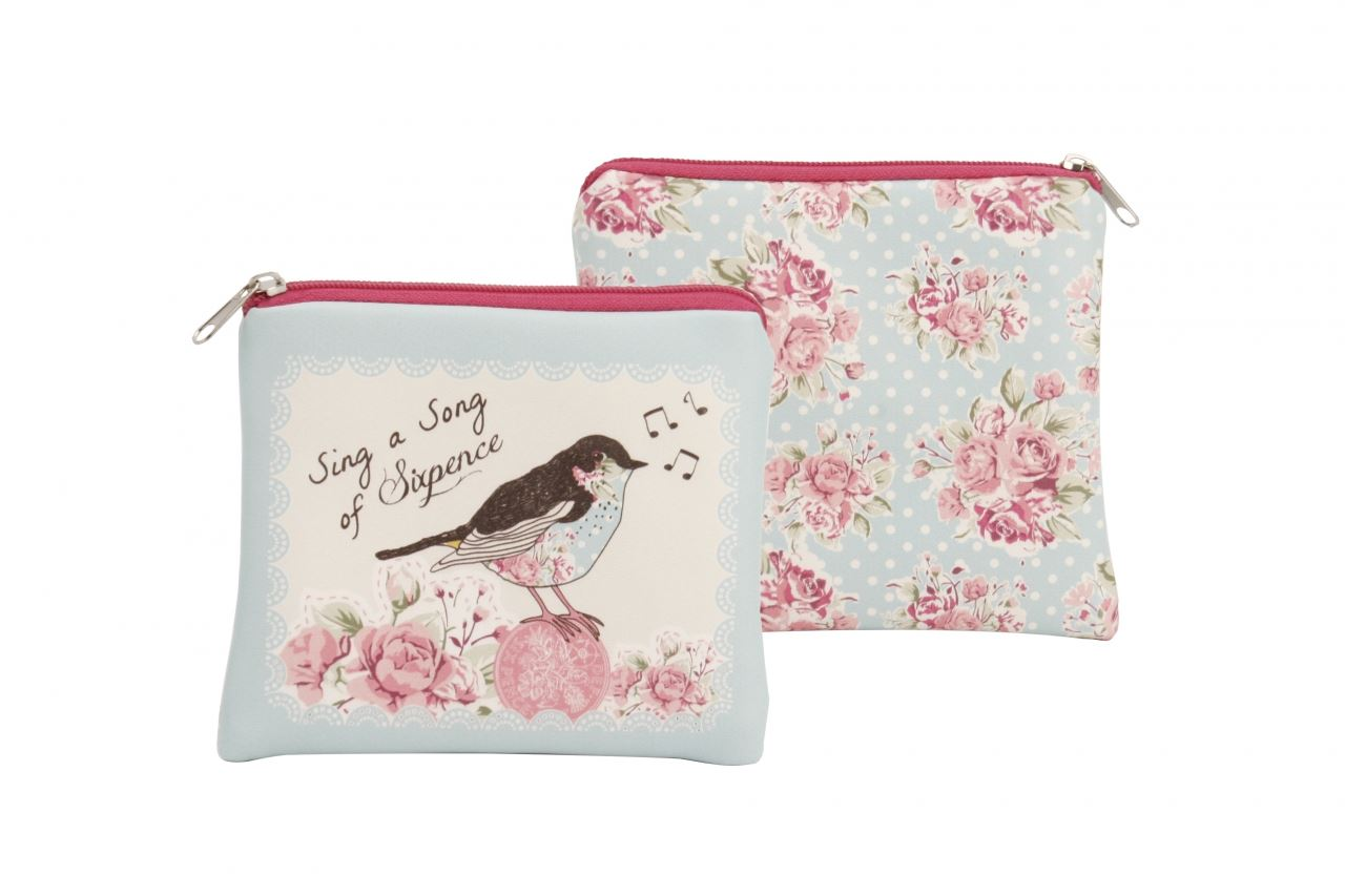 a10f4e84dc6 Vintage Floral Posies Sixpence Bird Purse Wallet Cosmetic Bag ...