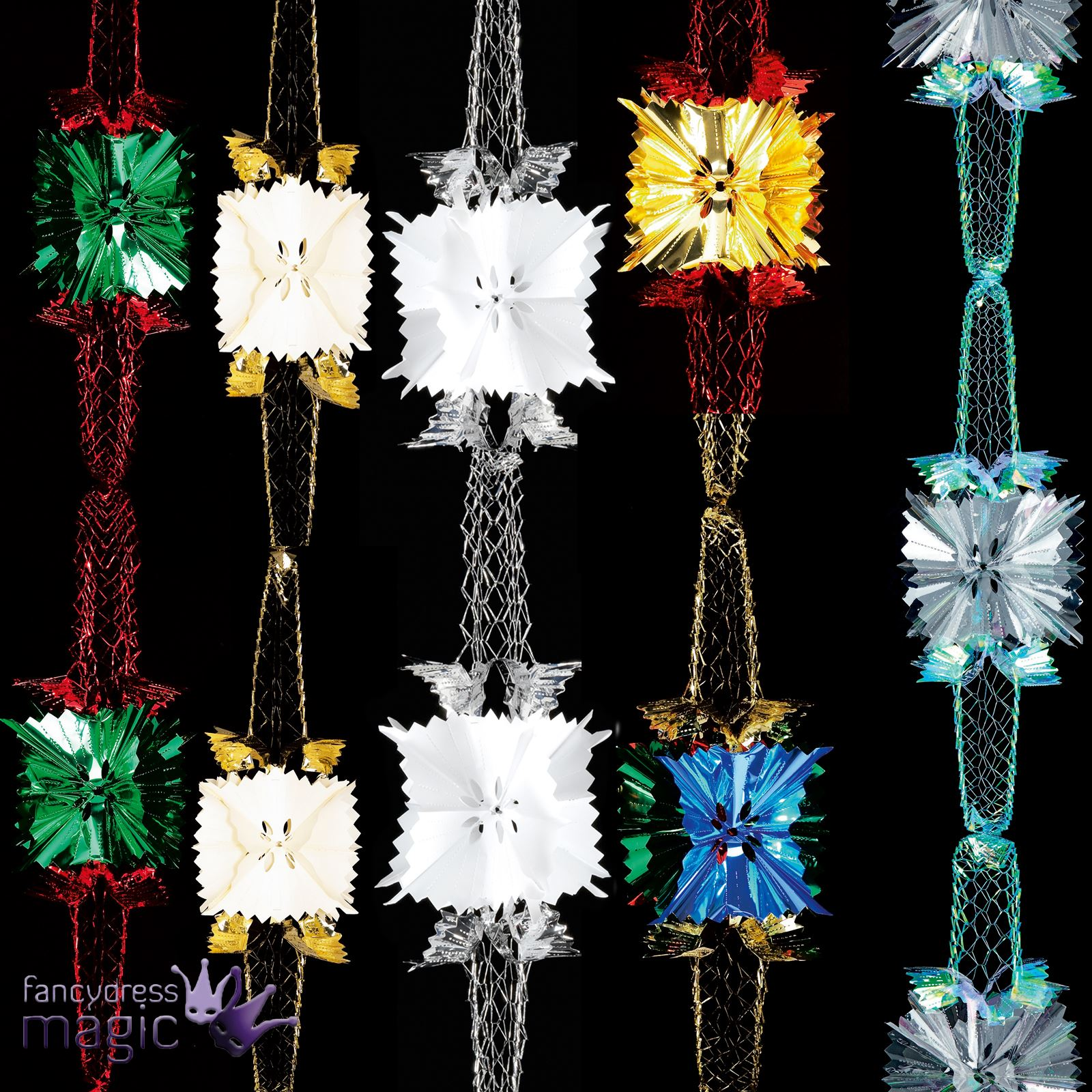 Hanging Christmas Decorations Ceiling: 2.7m X 20cm 4 Section Pull Out Garland Foil Ceiling