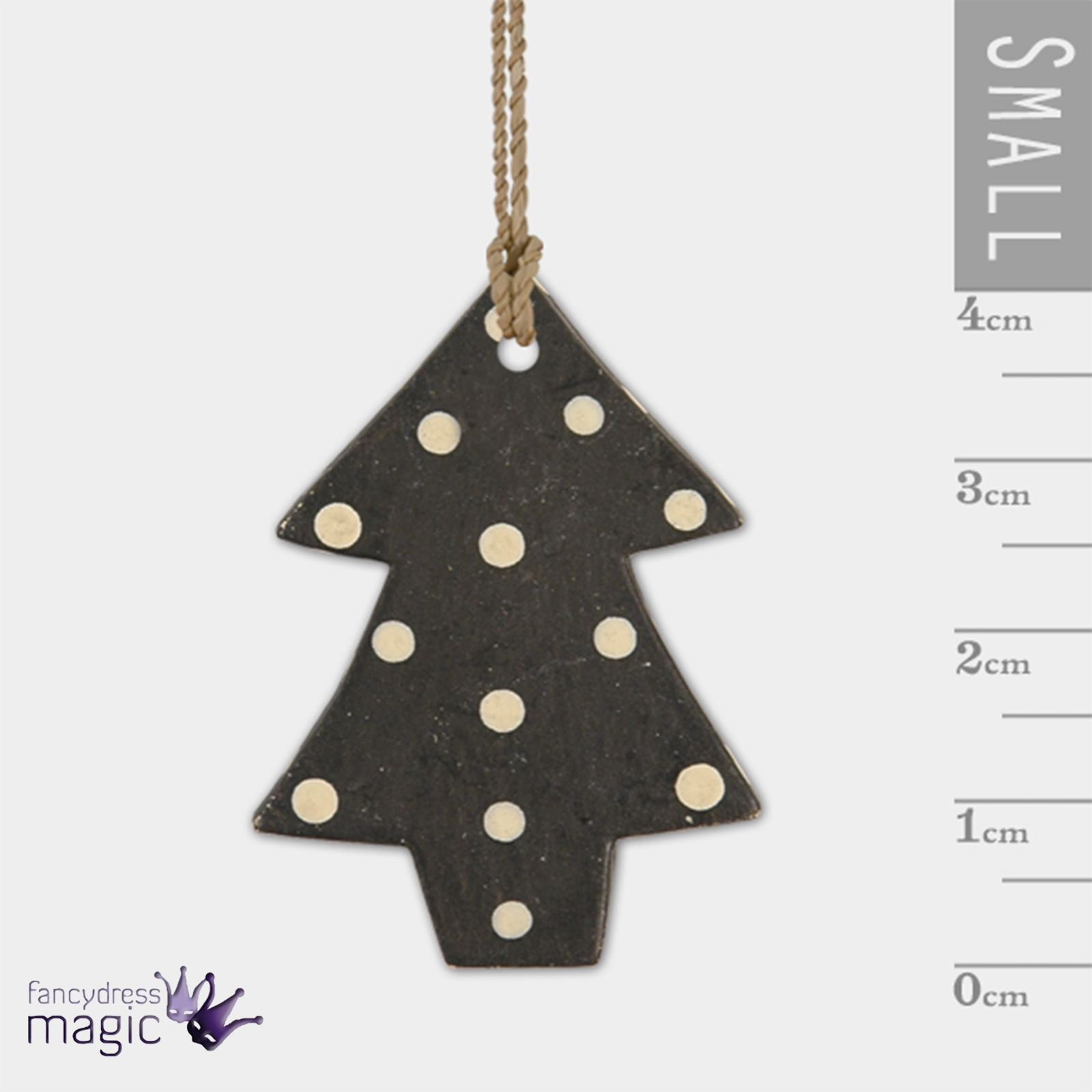 East Of India Little Dotty Dot Christmas Tree Cream Black Hanging ...