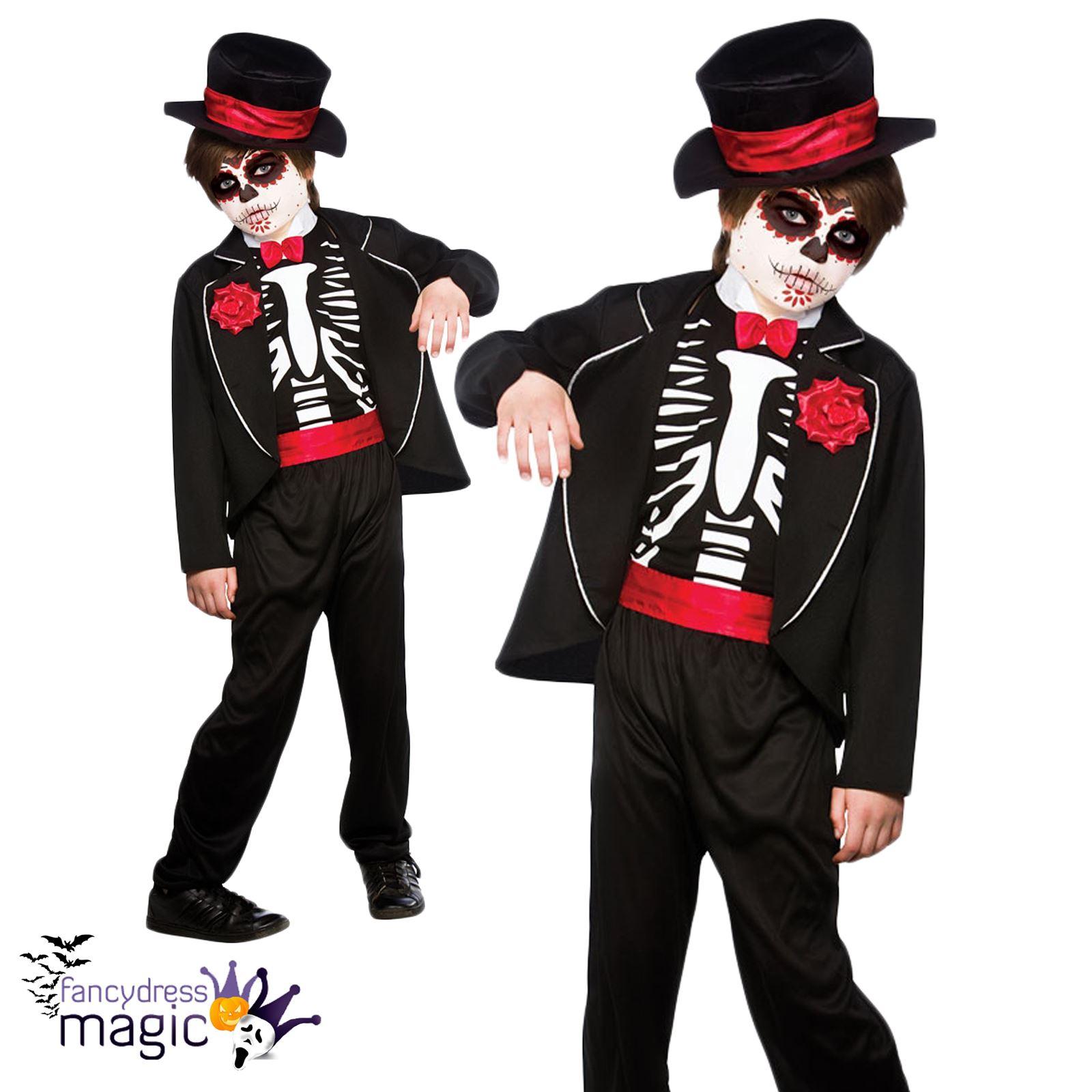 Nios Disfraz De Halloween Da Los Muertos Esqueleto Calavera