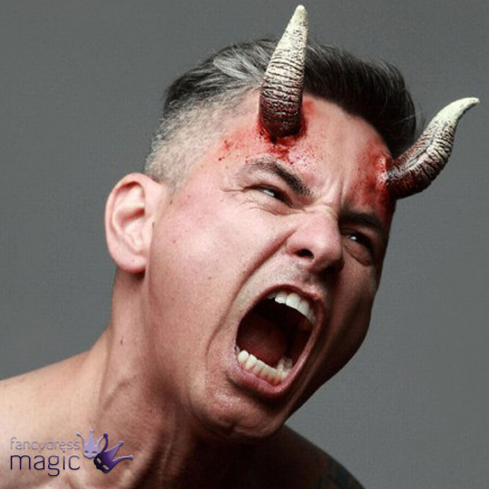Stick On Latex Devil Demon Satan FX Horns Halloween Wound ...
