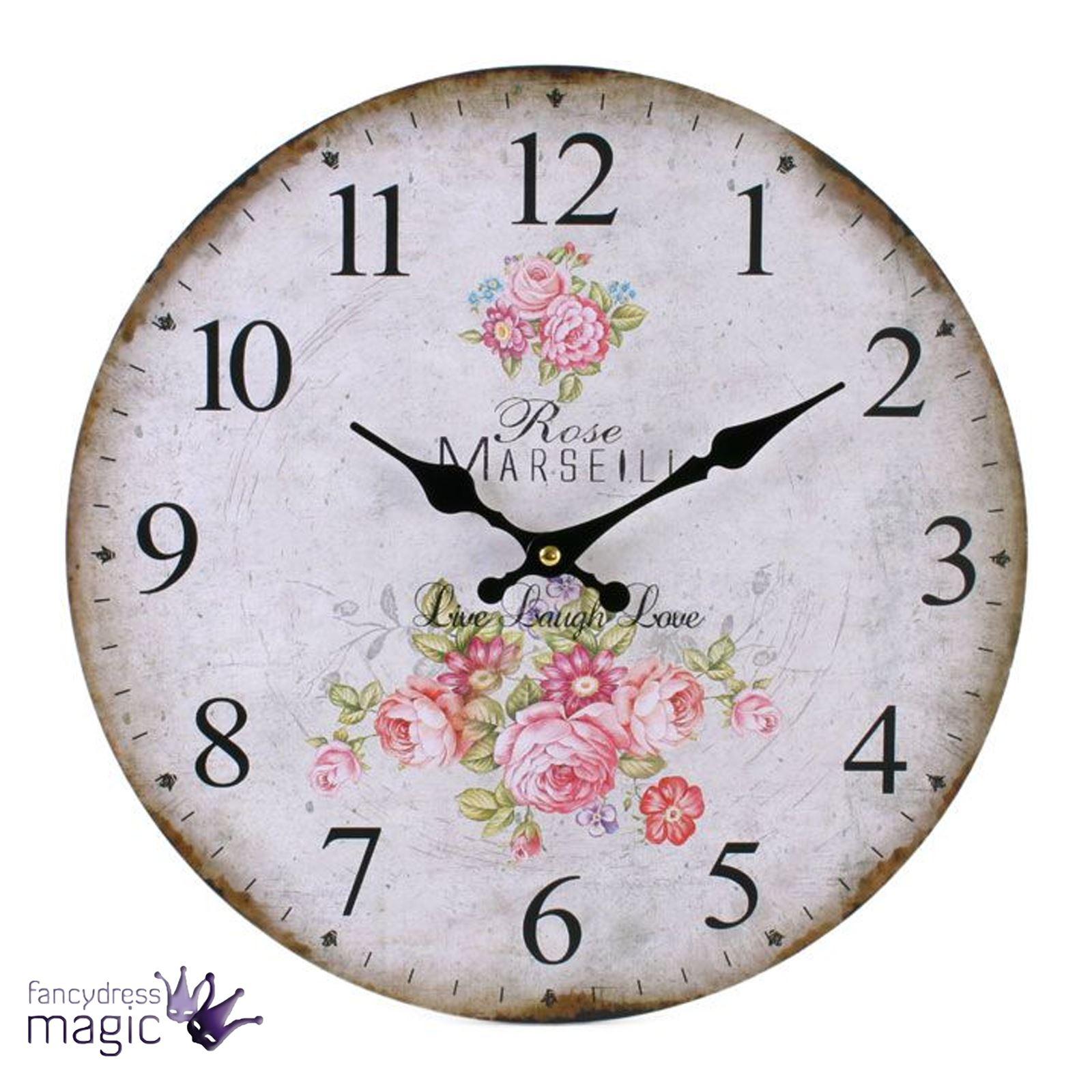 Grande Envejecido Reloj De Pared Madera Vintage Floral Rústico ...