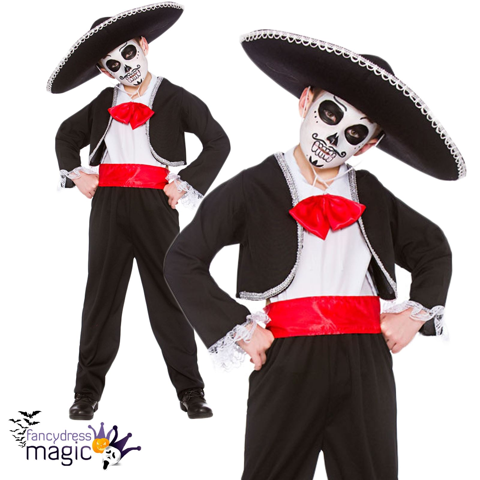 gar ons d guisement halloween day of the dead costume squelette cr ne mexicain ebay. Black Bedroom Furniture Sets. Home Design Ideas