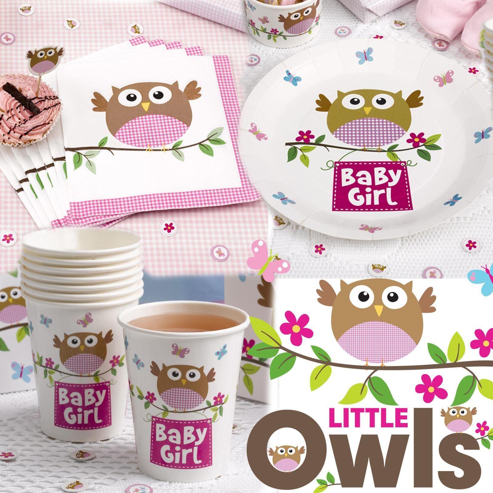 kleine eule partyartikel baby taufe geburtstag set teller servietten tassen ebay. Black Bedroom Furniture Sets. Home Design Ideas