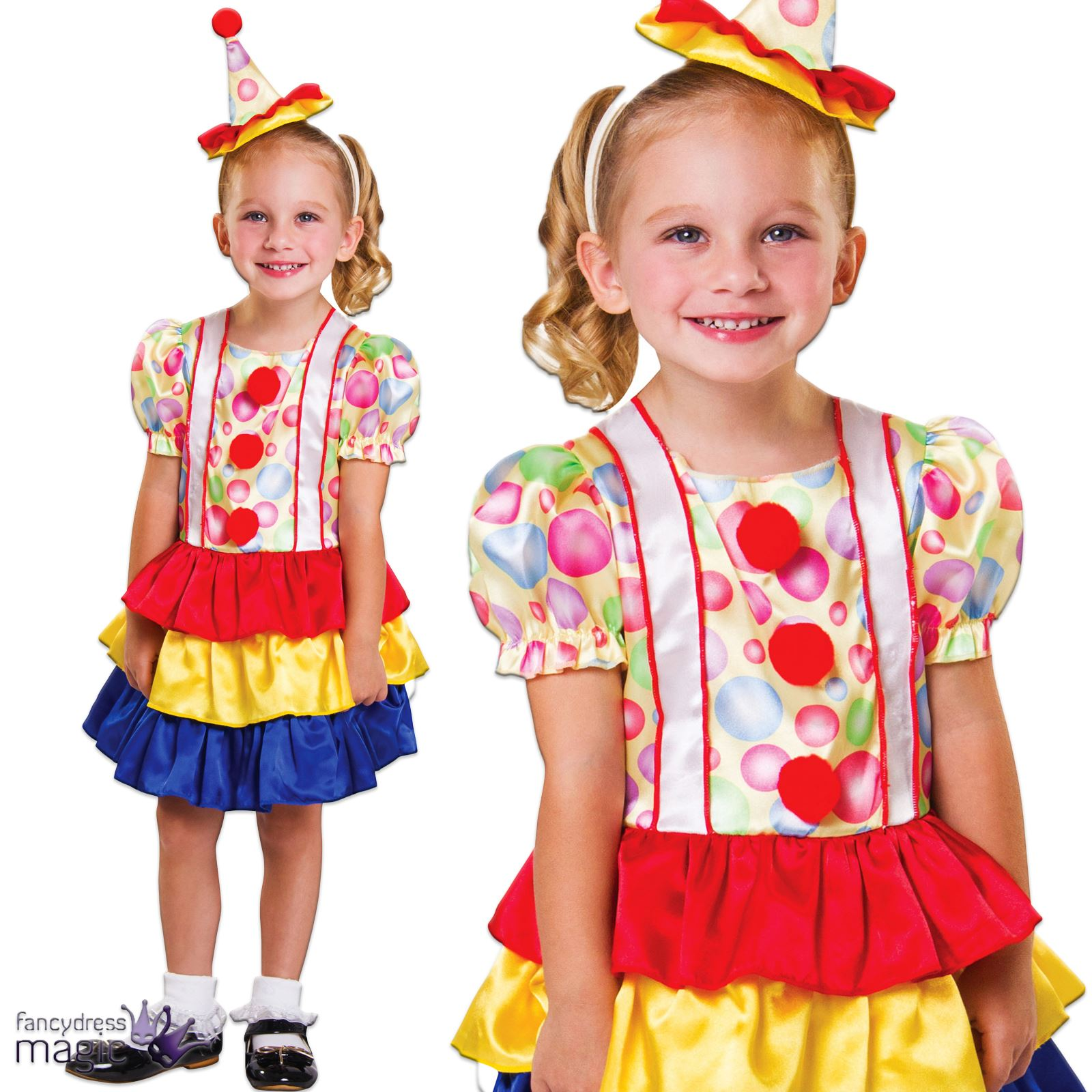 Girls Toddler Halloween Circus Clown Fancy Dress Clown Costume Outfit Age 2 - 3  sc 1 st  eBay & Girls Toddler Halloween Circus Clown Fancy Dress Clown Costume ...