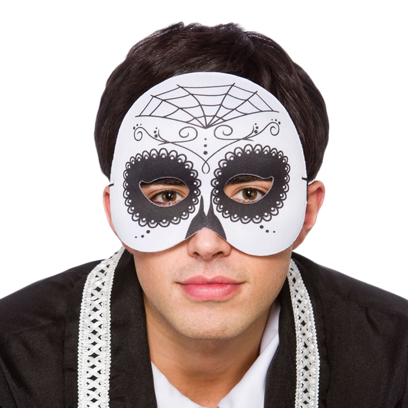 Mens Mexican Day of The Dead Half Face Voodoo Mask Halloween Fancy ...