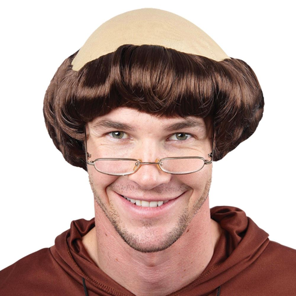 Details About Medieval Monk Friar Tuck Stag Wig Bald Cap Fancy Dress Costume Accessory