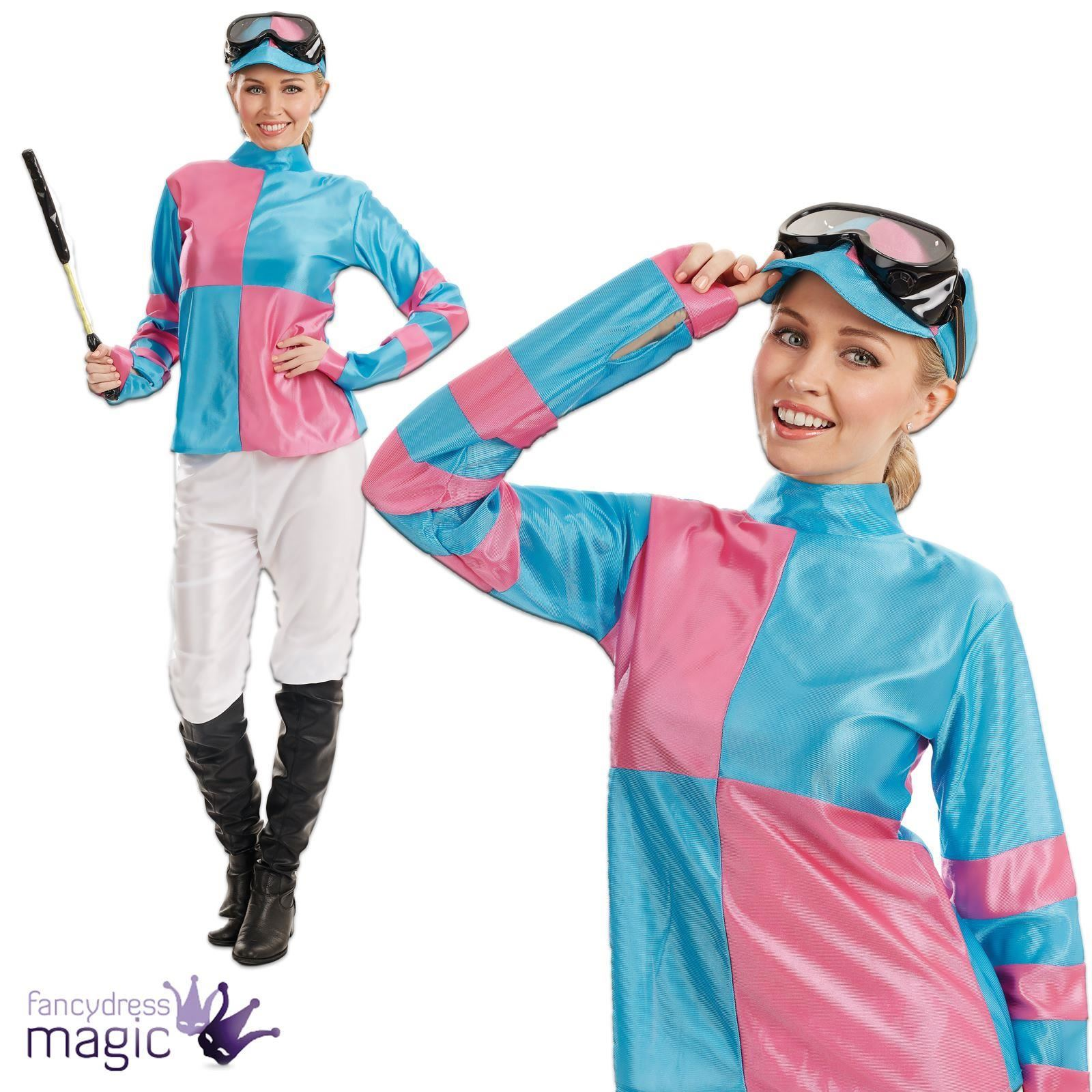 Female Jockey Womens Pink Blue Sports Horse Rider Fancy Dress ...