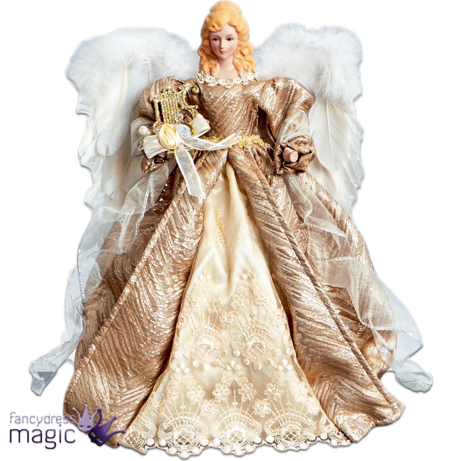 40cm champagne dor ange no l pour sommet sapin avec plume ailes ebay - Ange pour pointe de sapin ...