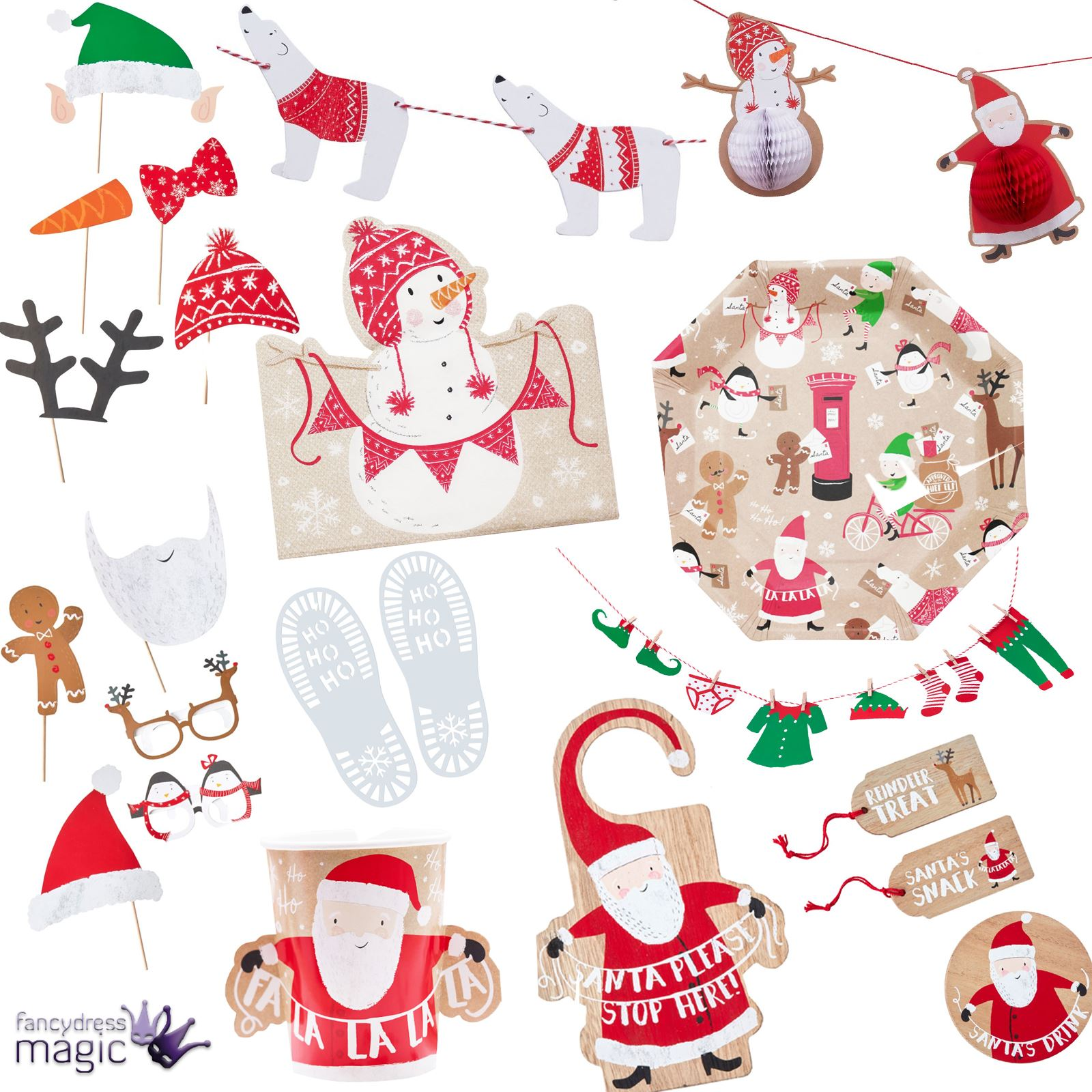 Ginger Ray Christmas Xmas Santa and Friends Party Partyware Eve ...