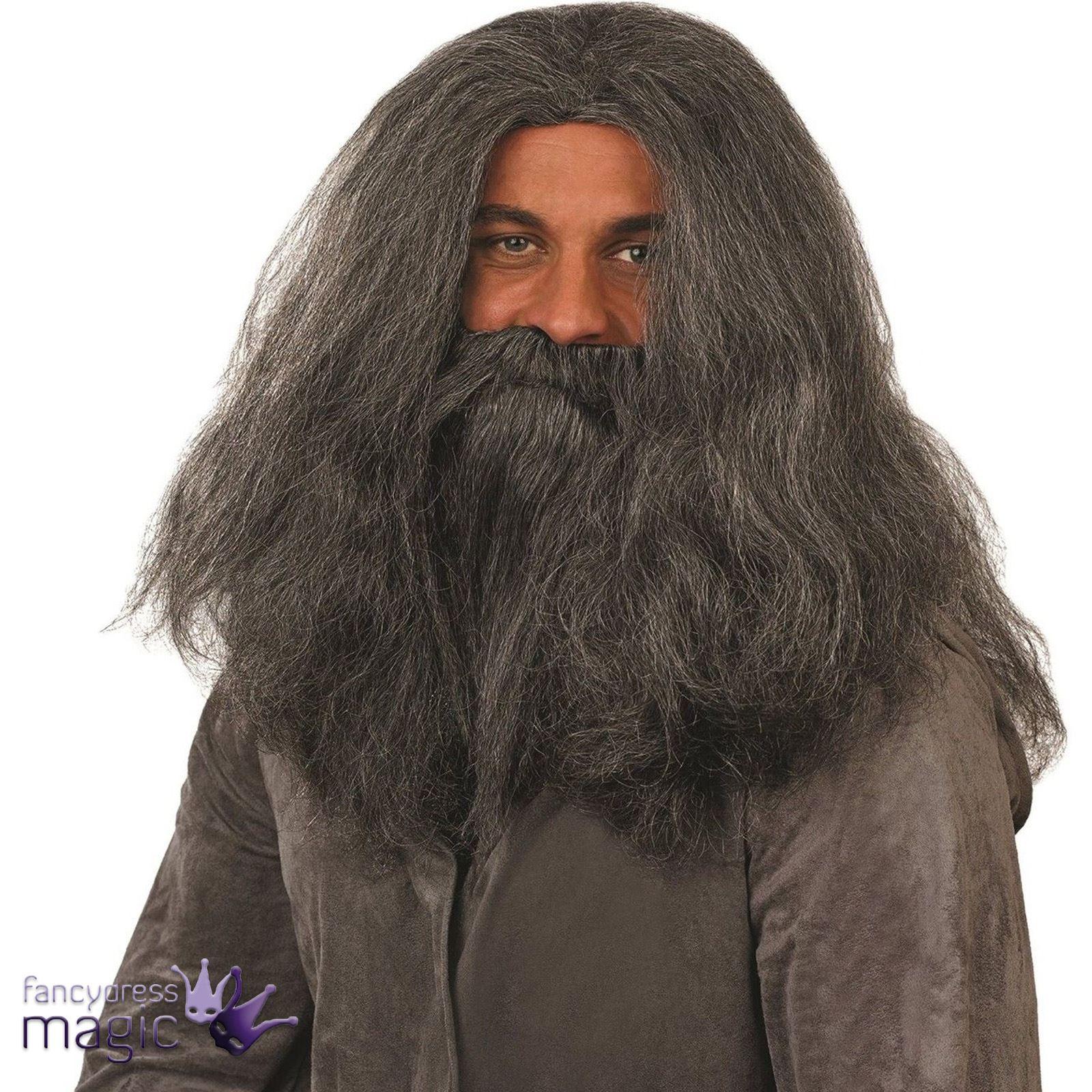 Grey Wizard Wig and Beard Fancy Dress Old Man Hagrid Caveman ...