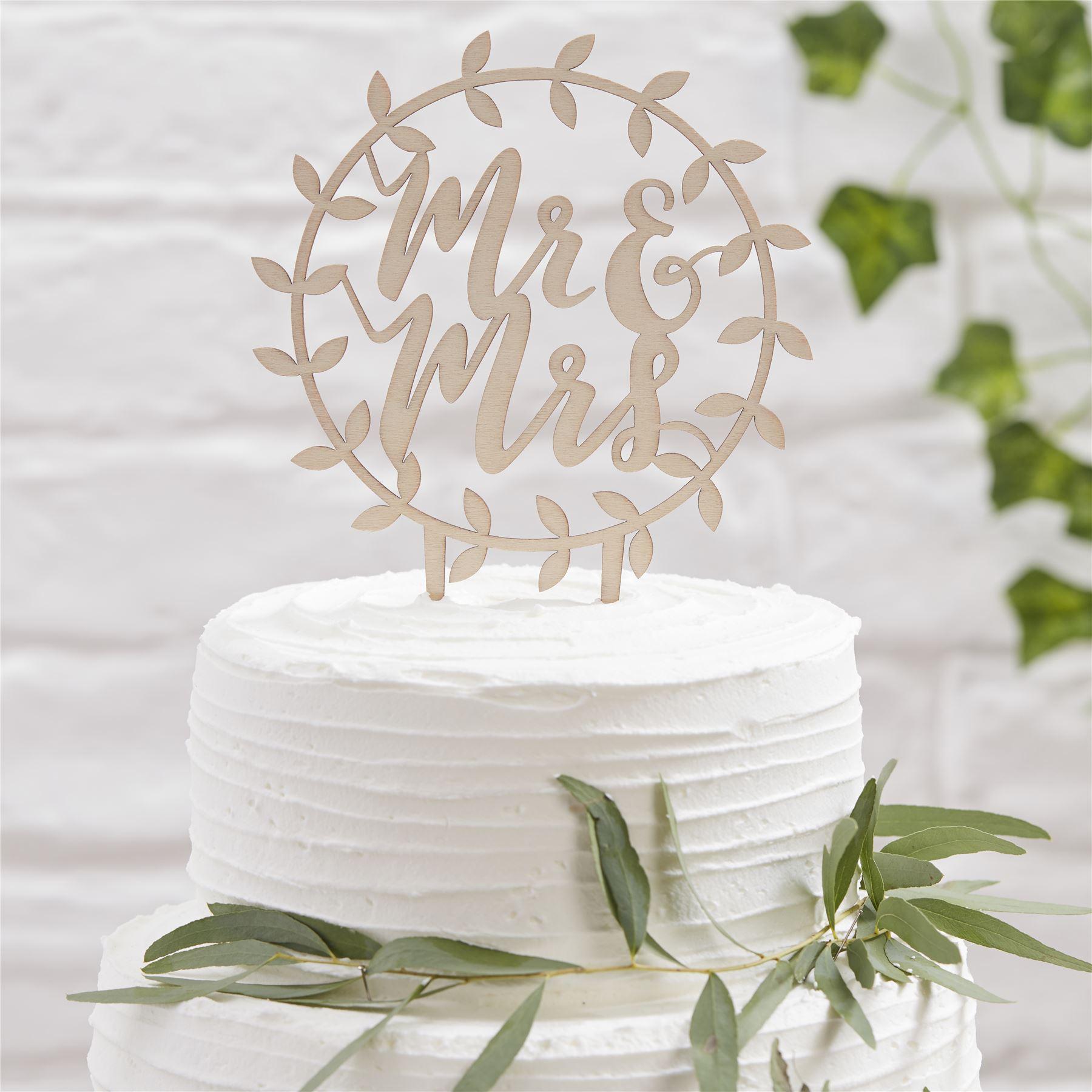 Ginger Ray Hochzeit Tortenaufsatz Torte Kuchen Party Deko Holz Mr