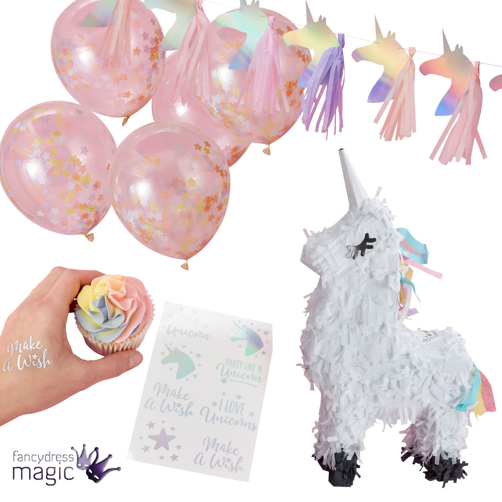 cae2c87b57f95 Ginger Ray Make A Wish Unicorn Iridescent Ombre Party Rainbow Complete Set  Kit