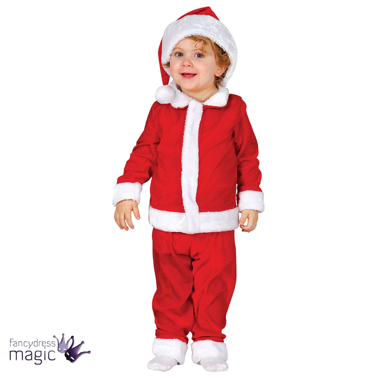 Baby Toddler Boys Santa Suit Father Christmas Xmas Fancy Dress